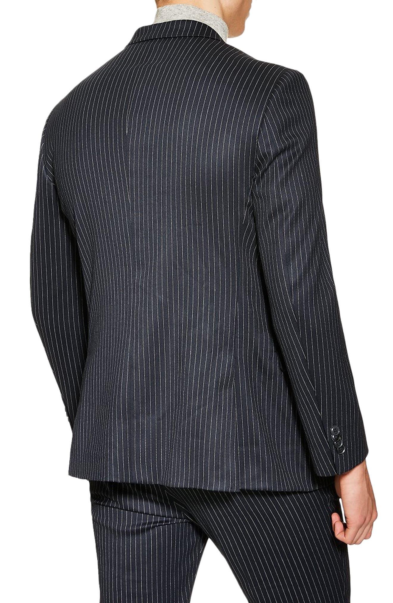Tailored Pinstripe Suit Jacket,                             Alternate thumbnail 2, color,                             NAVY BLUE