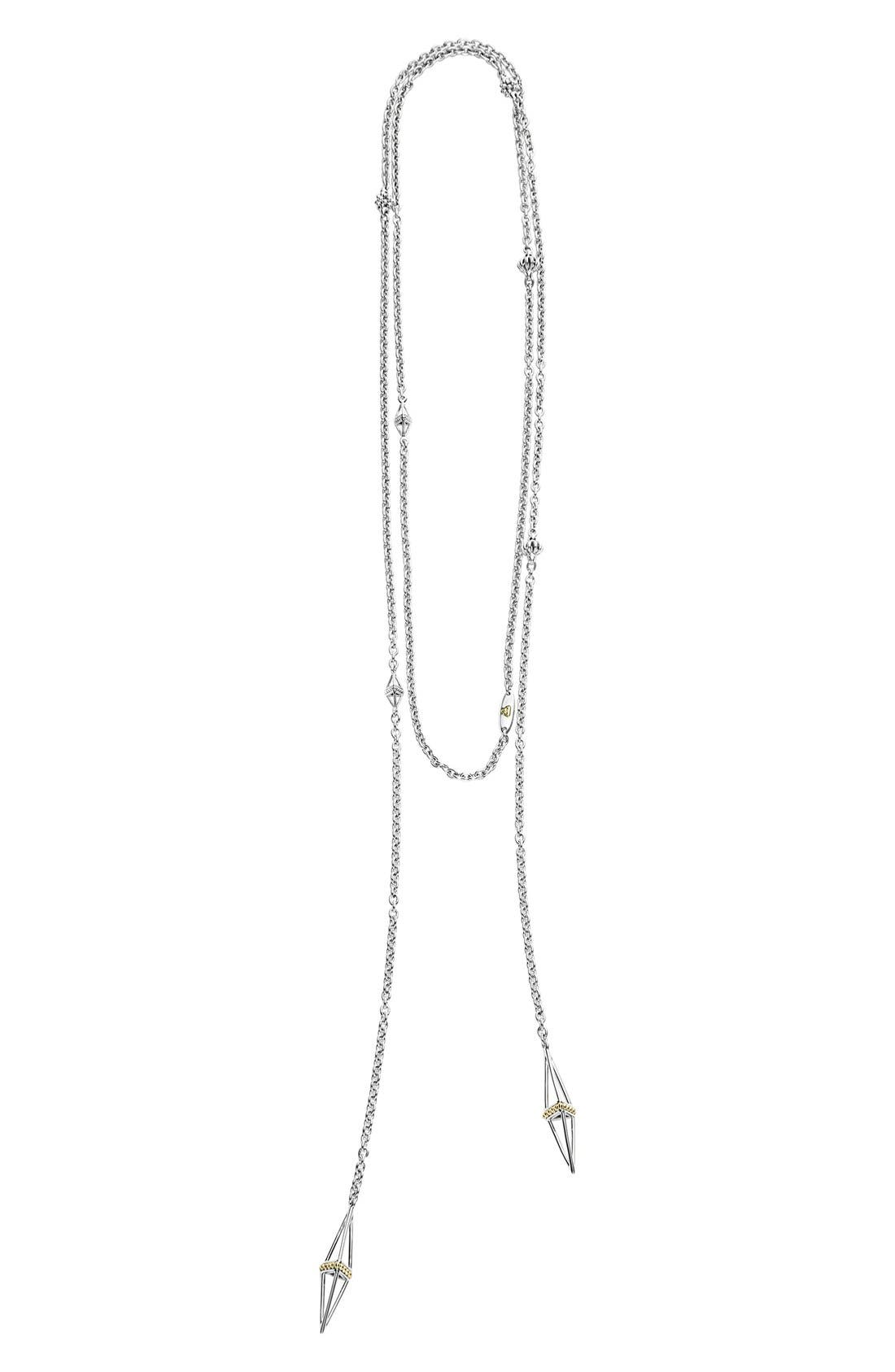 LSL Pyramid Station Lariat Necklace,                             Alternate thumbnail 4, color,                             SILVER/ GOLD