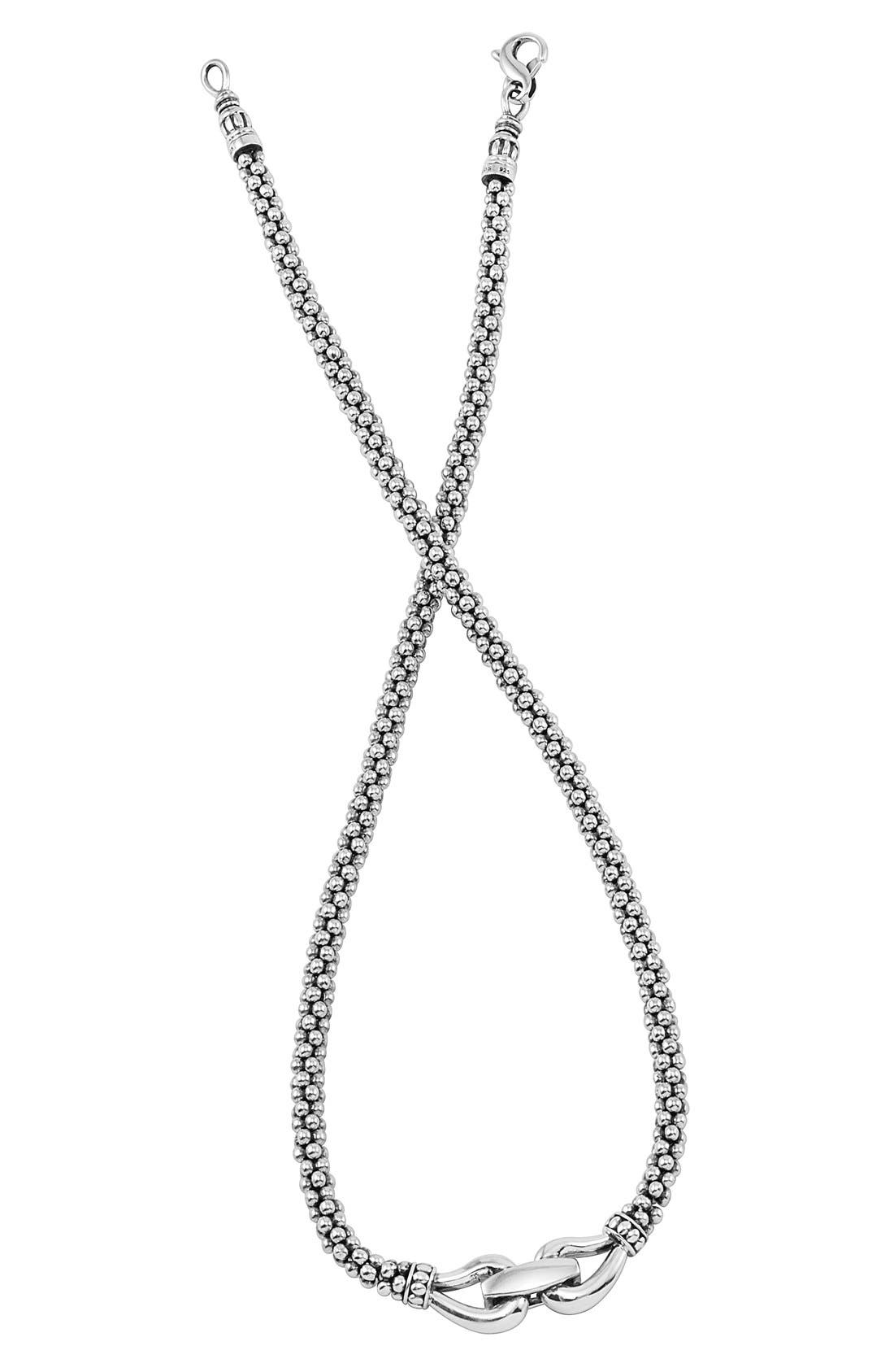 'Derby' Buckle Rope Necklace,                         Main,                         color, STERLING SILVER