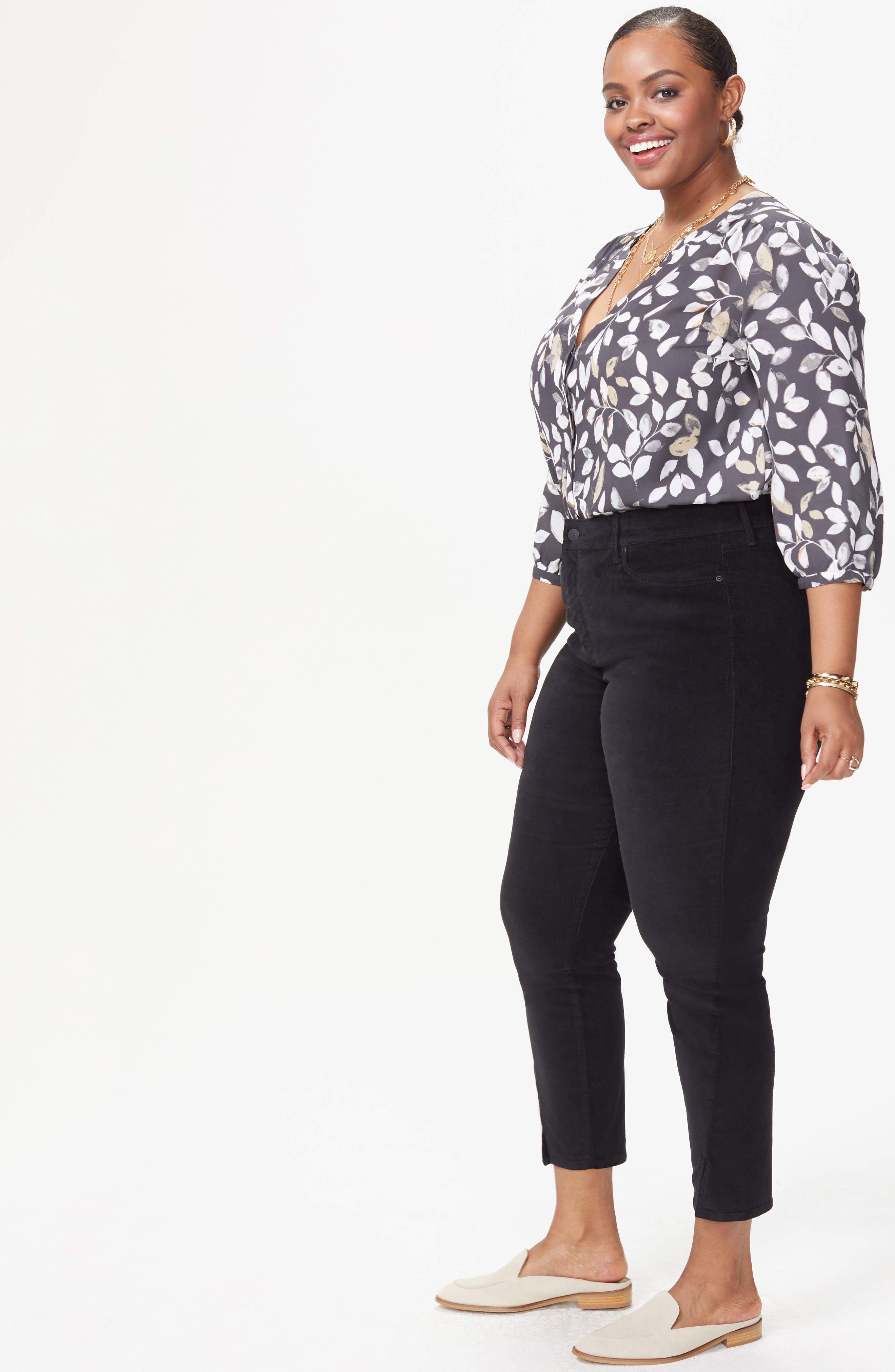 Ami Twist Seam Ankle Slit Velvet Pants,                             Alternate thumbnail 6, color,                             BLACK