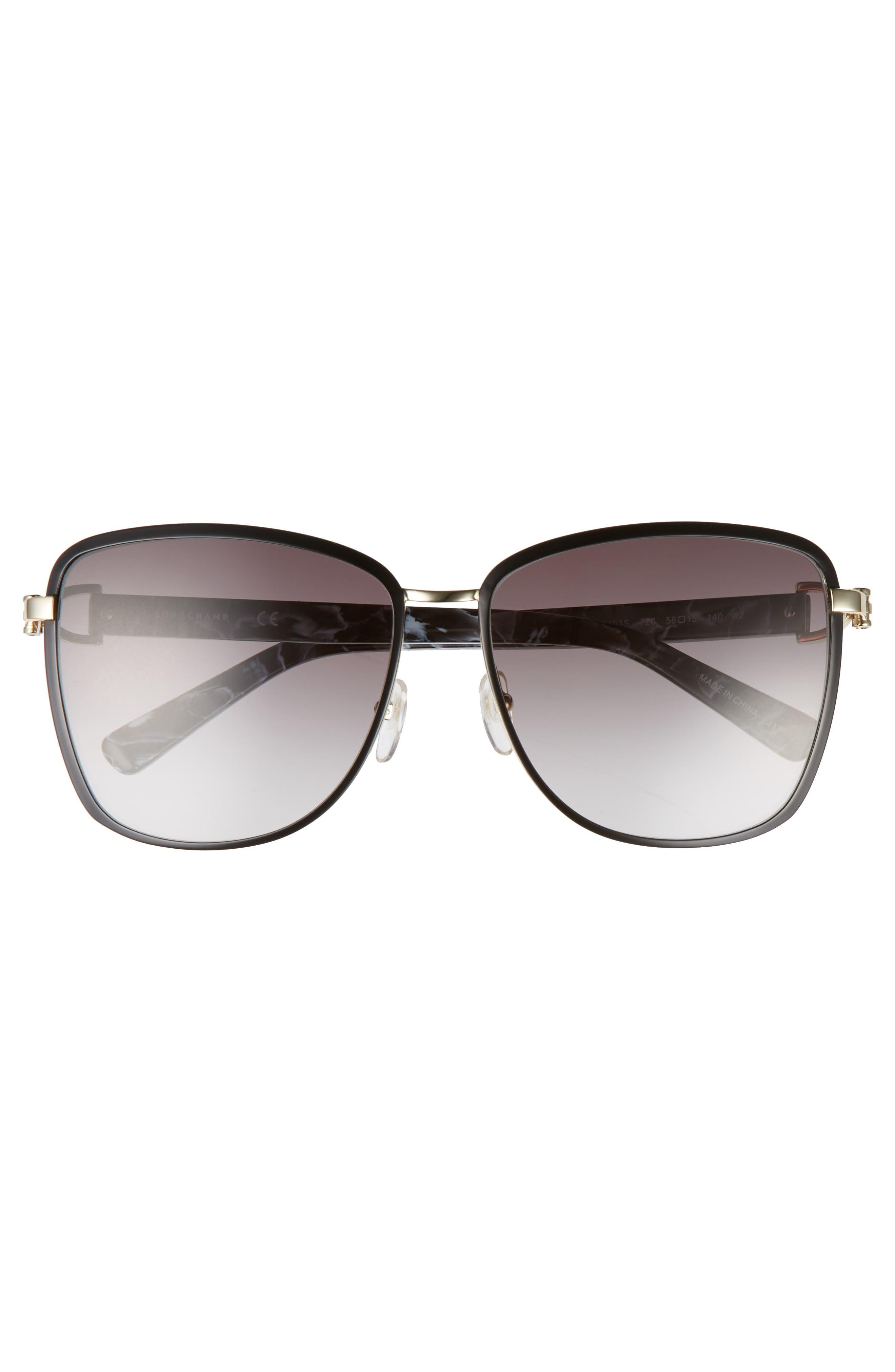 58mm Metal Sunglasses,                             Alternate thumbnail 3, color,                             GOLD/ BLACK