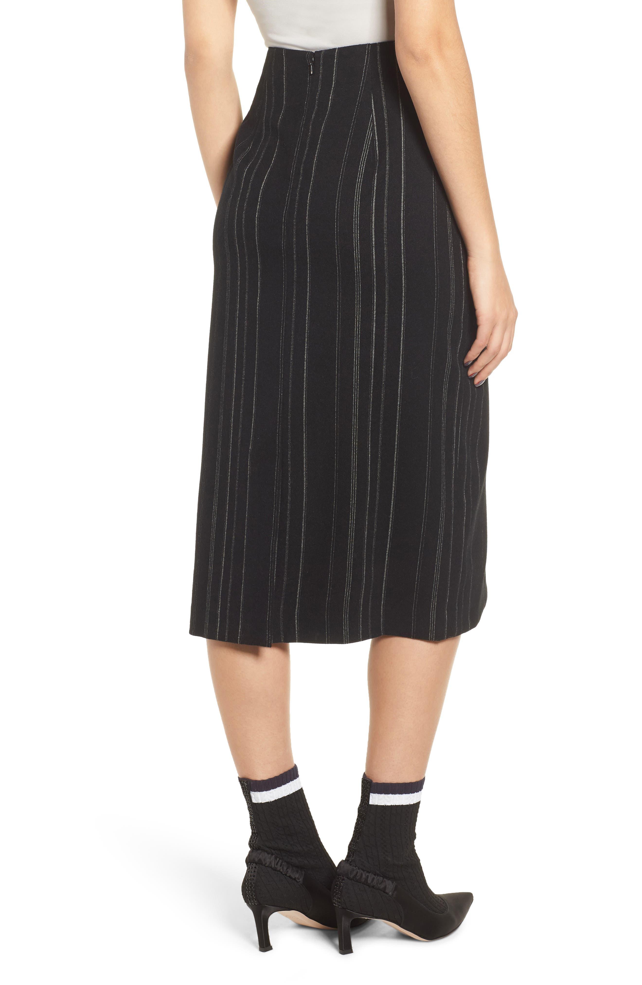Side Tie Midi Skirt,                             Alternate thumbnail 2, color,                             001