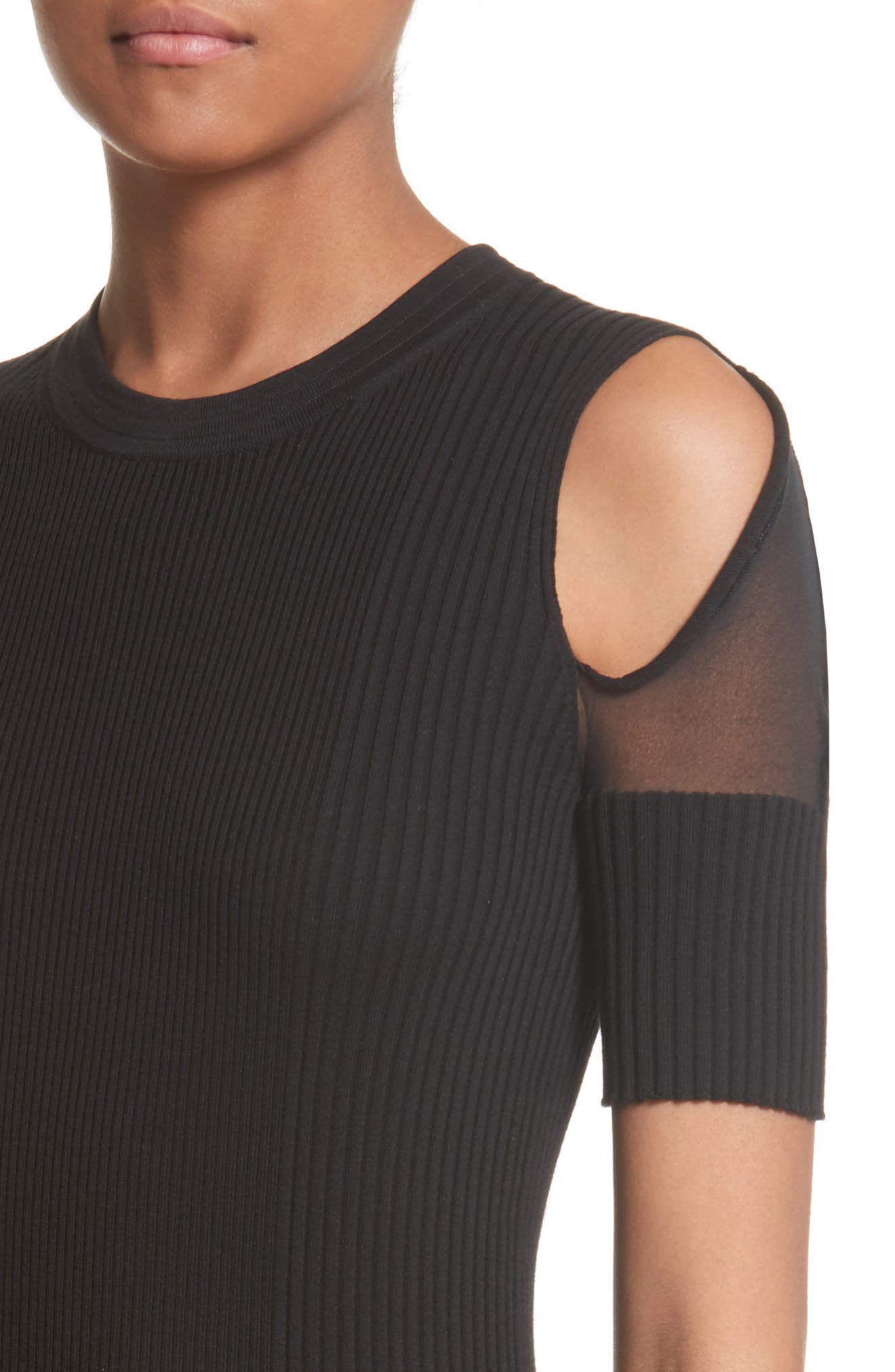 Knit Cold Shoulder Dress,                             Alternate thumbnail 4, color,                             001