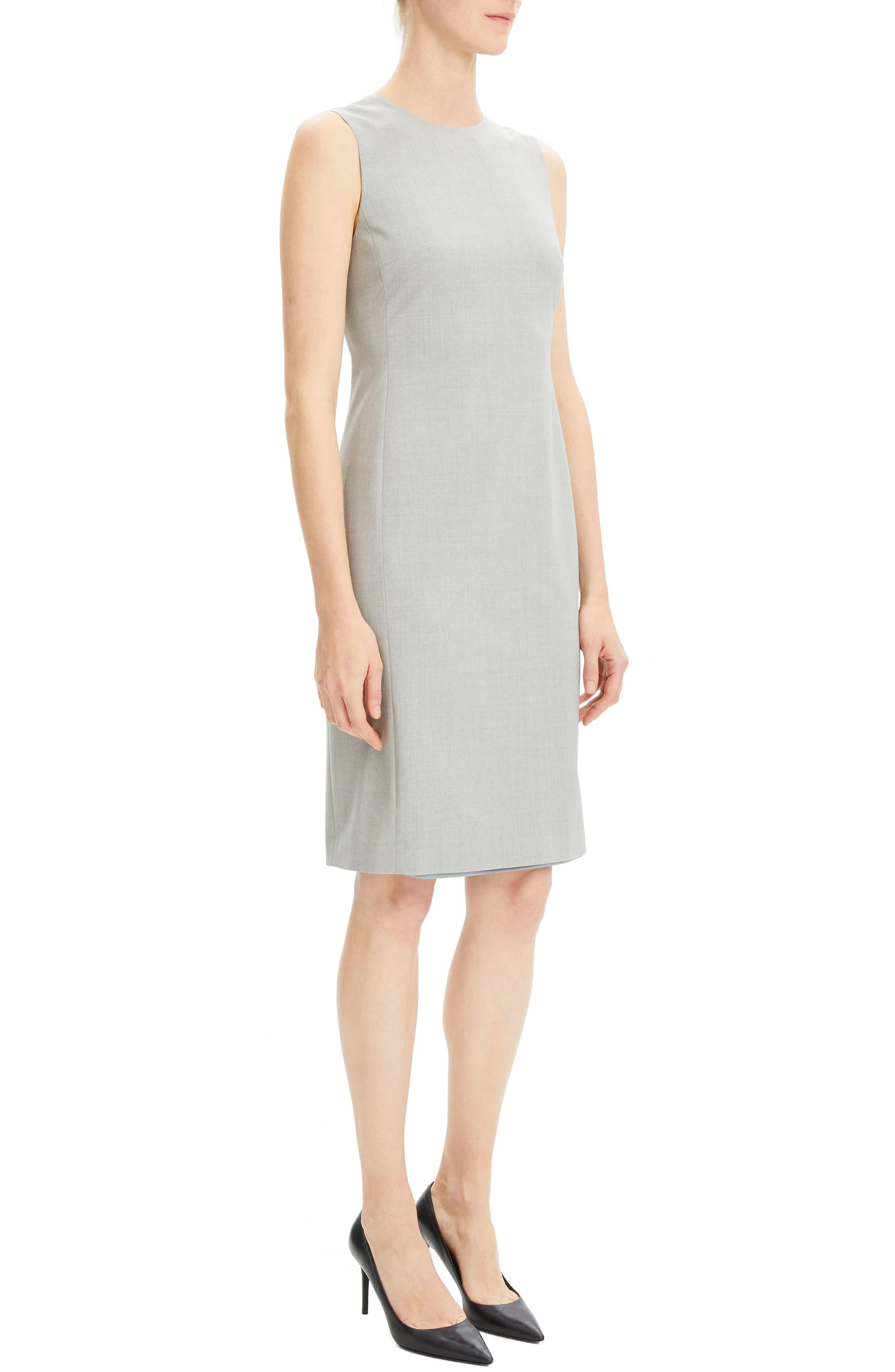 THEORY,                             Eano Good Wool Sheath Dress,                             Alternate thumbnail 3, color,                             050