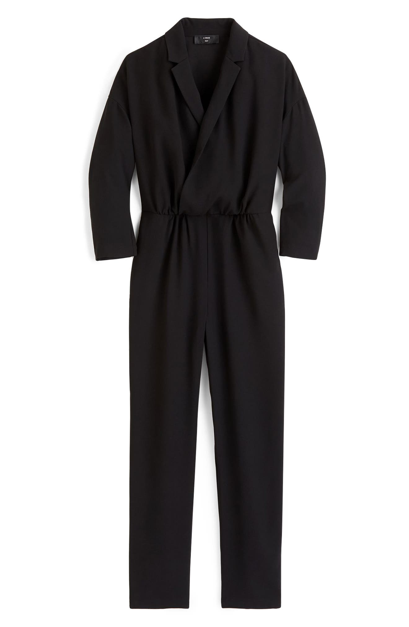 Crepe Lapel Jumpsuit,                         Main,                         color, BLACK