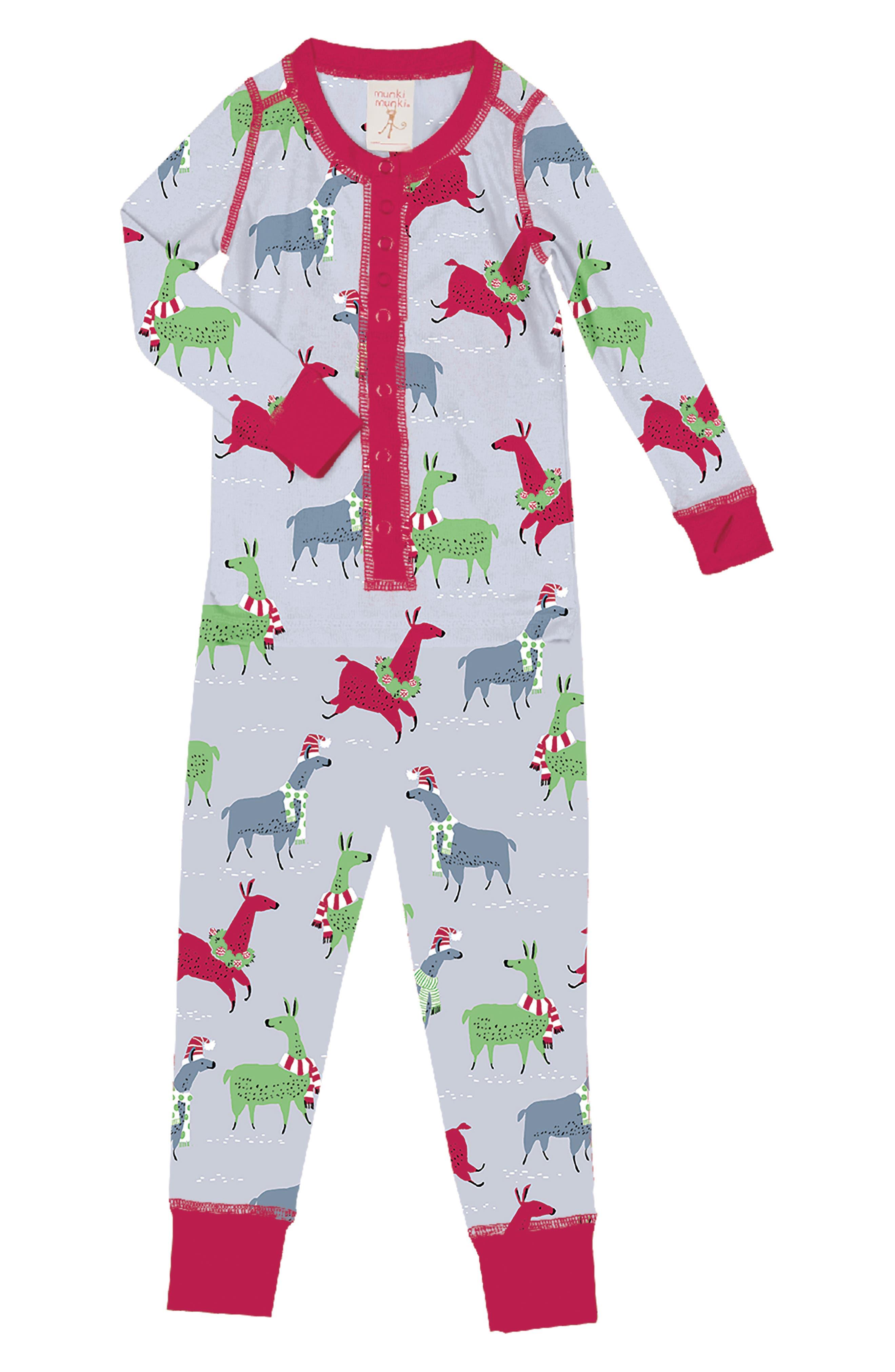 Toddler Girls Munki Munki Llamas Fitted OnePiece Pajamas Size 2T  Grey