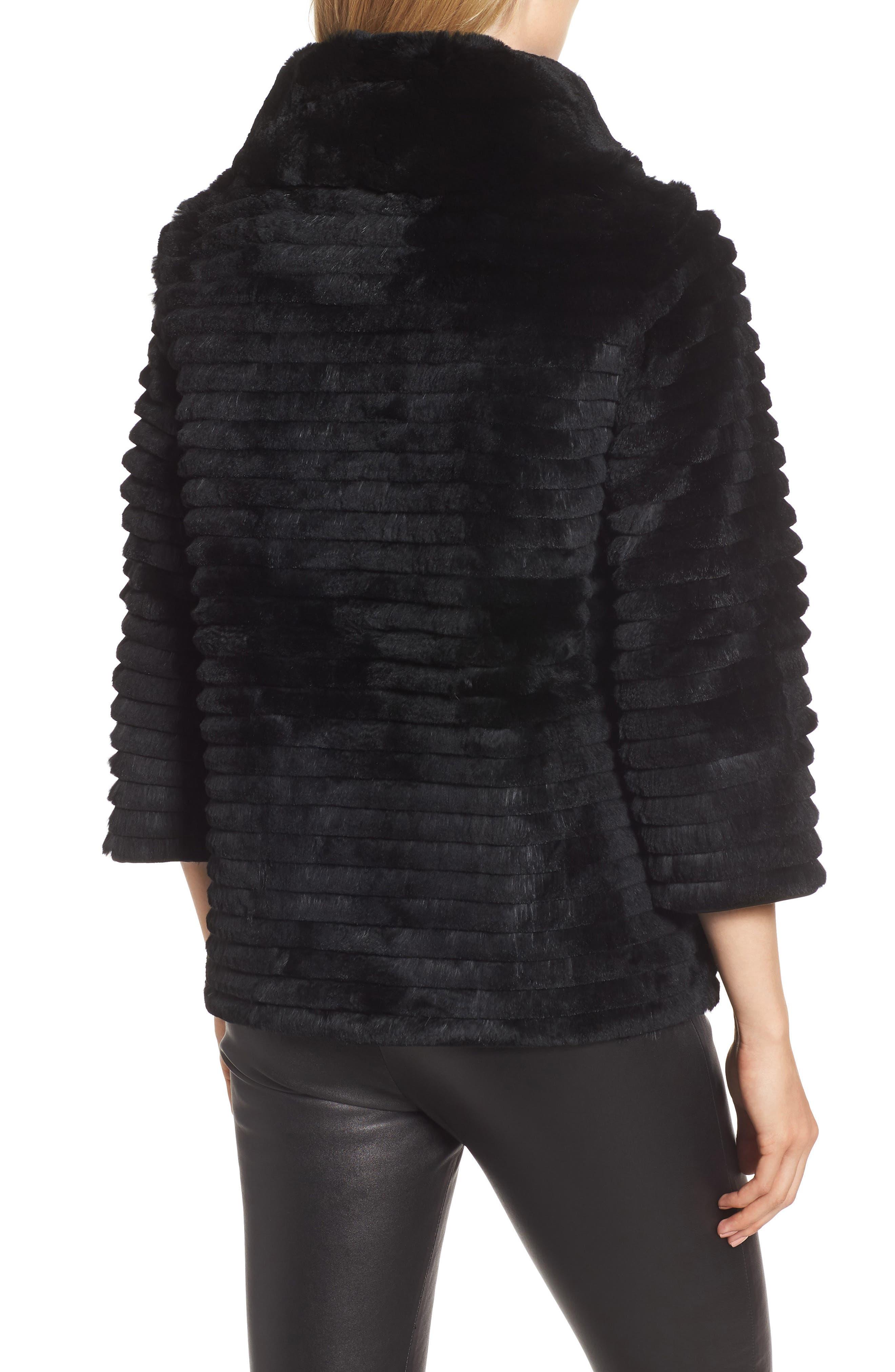 Genuine Rex Rabbit Fur Crop Jacket,                             Alternate thumbnail 2, color,                             BLACK