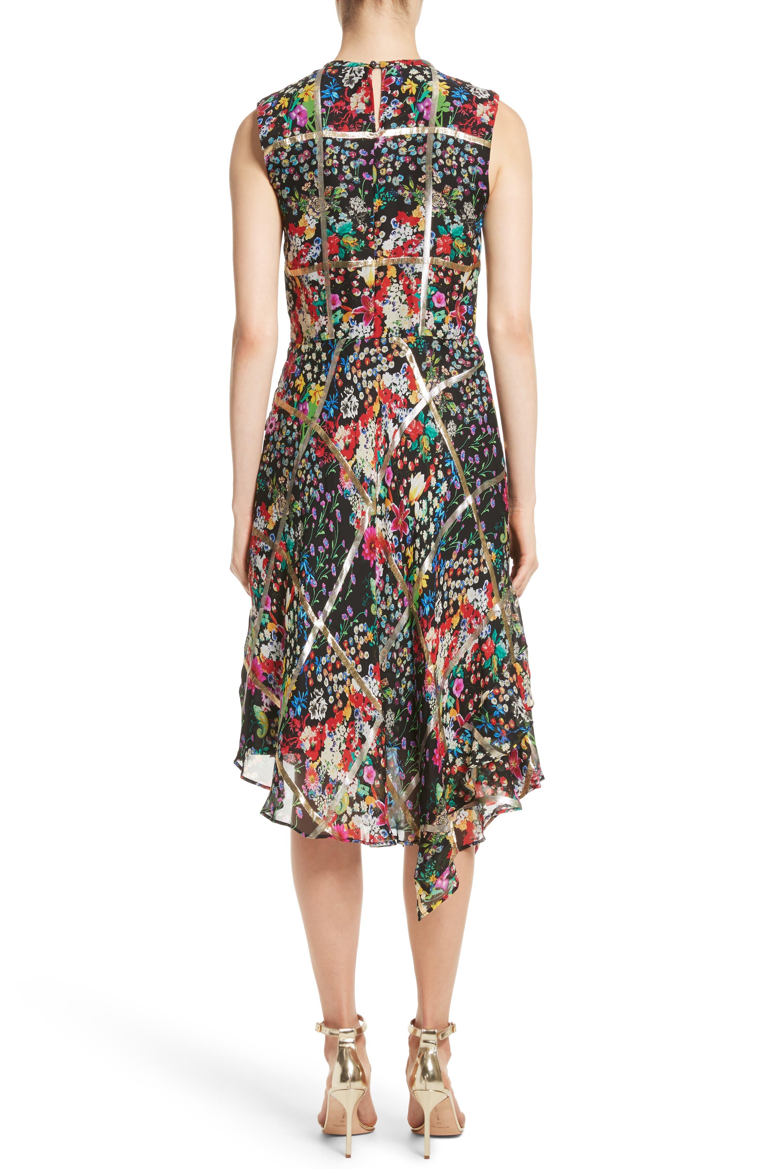 Metallic Grid Floral Print Silk Dress,                             Alternate thumbnail 2, color,                             001