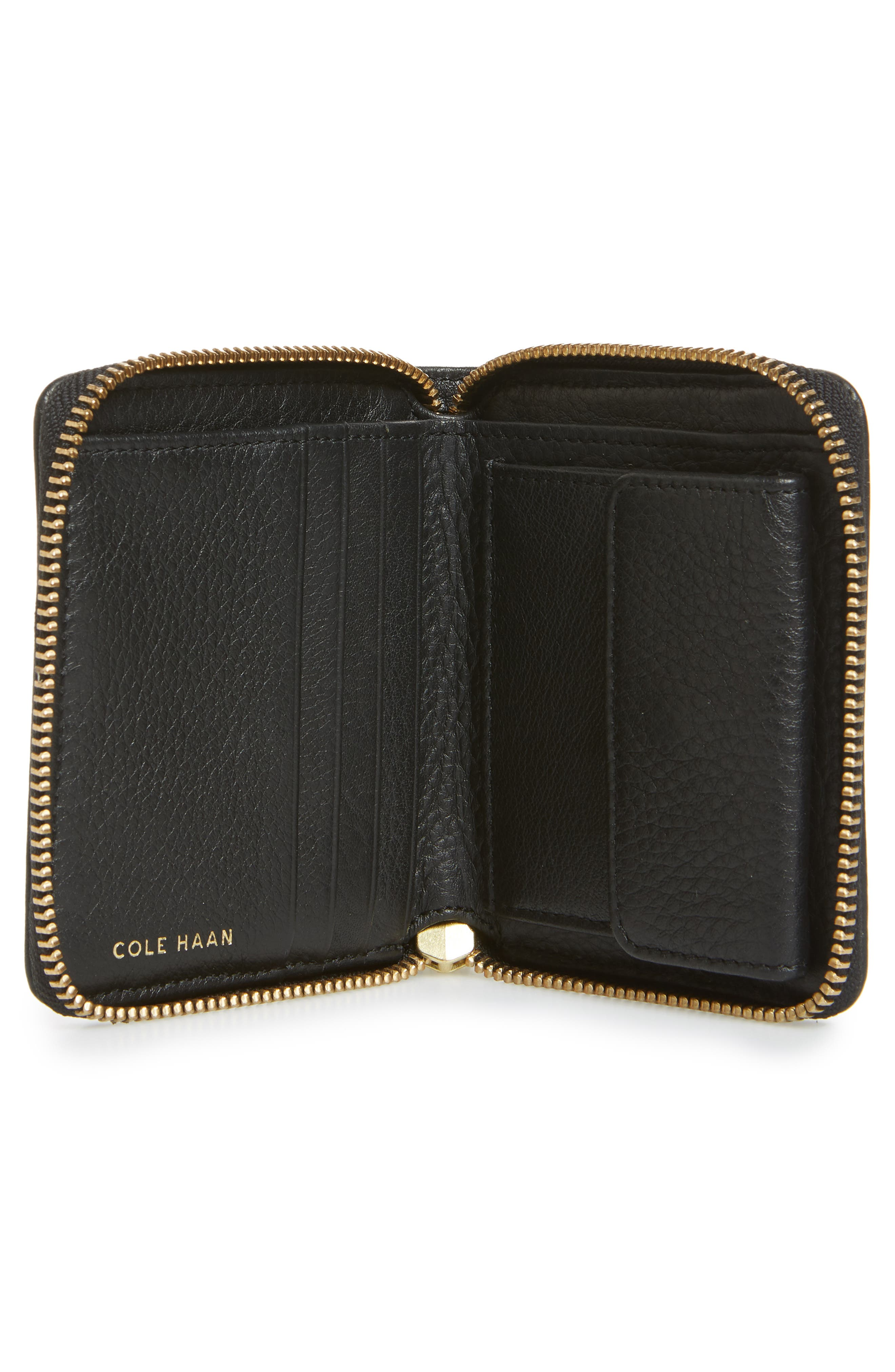 Cassidy Small RFID Leather Zip Wallet,                             Alternate thumbnail 2, color,                             001