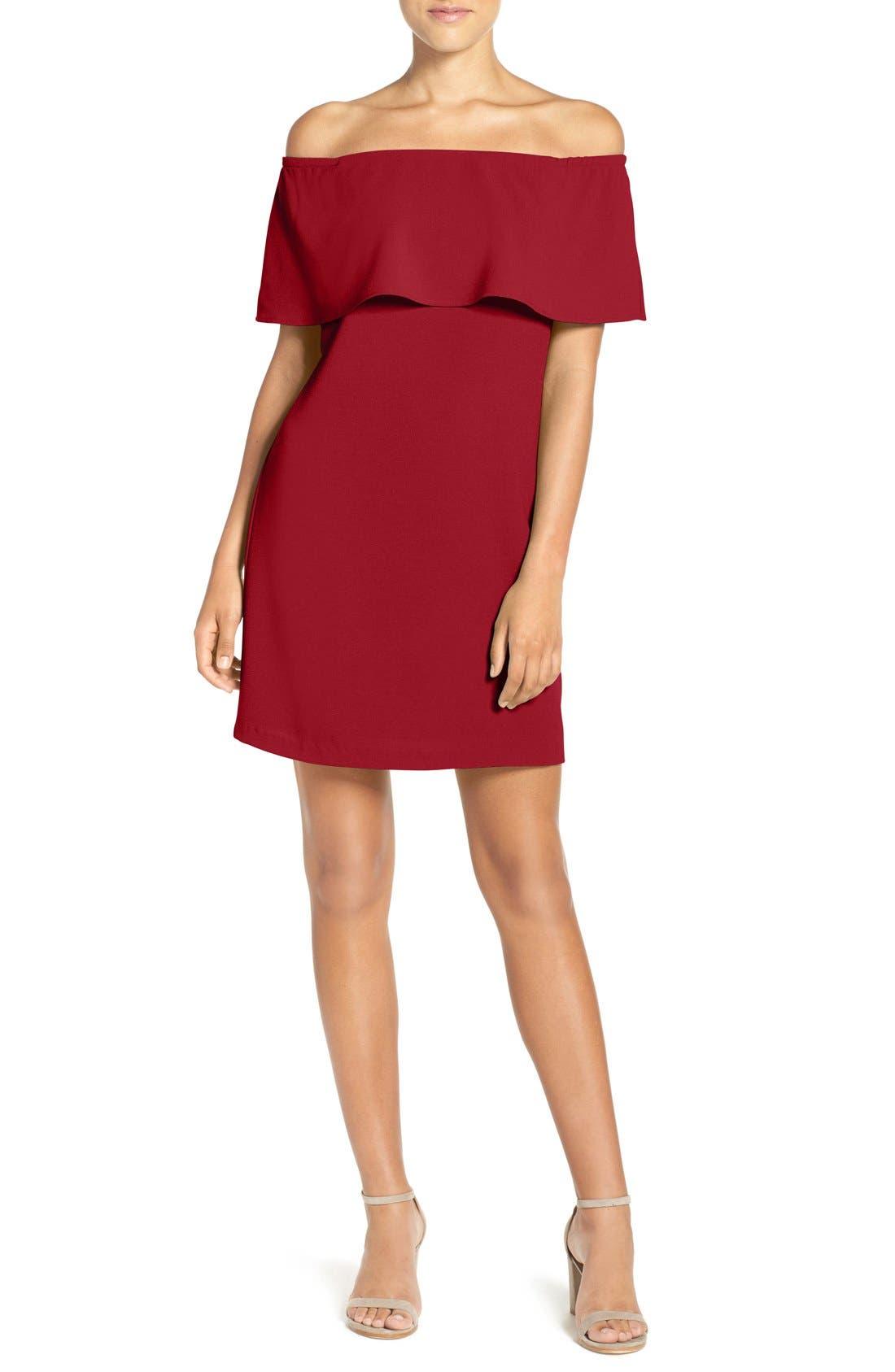 Off the Shoulder Dress,                         Main,                         color, GARNET
