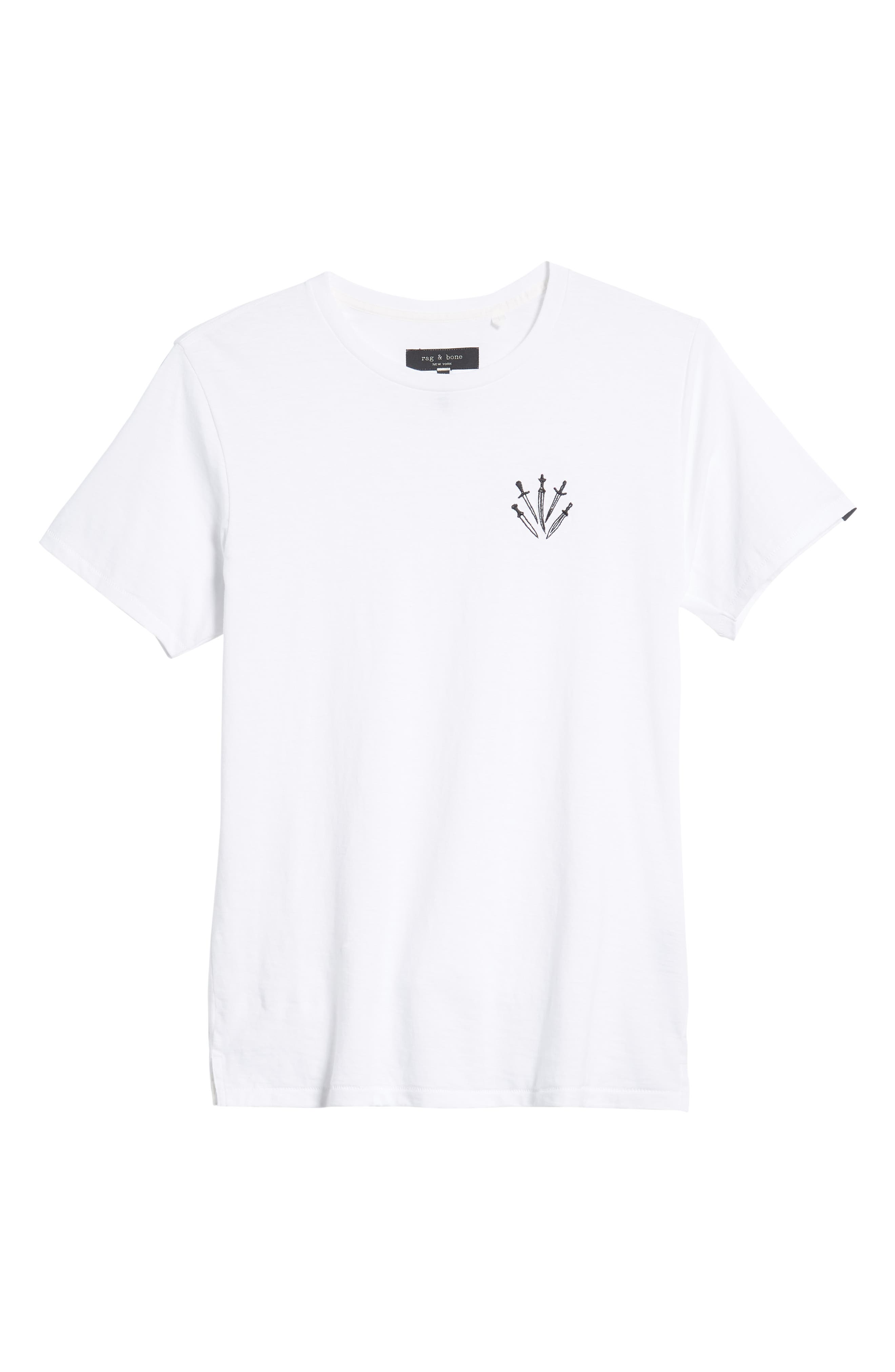 Dagger Embroidered T-Shirt,                             Alternate thumbnail 6, color,                             WHITE