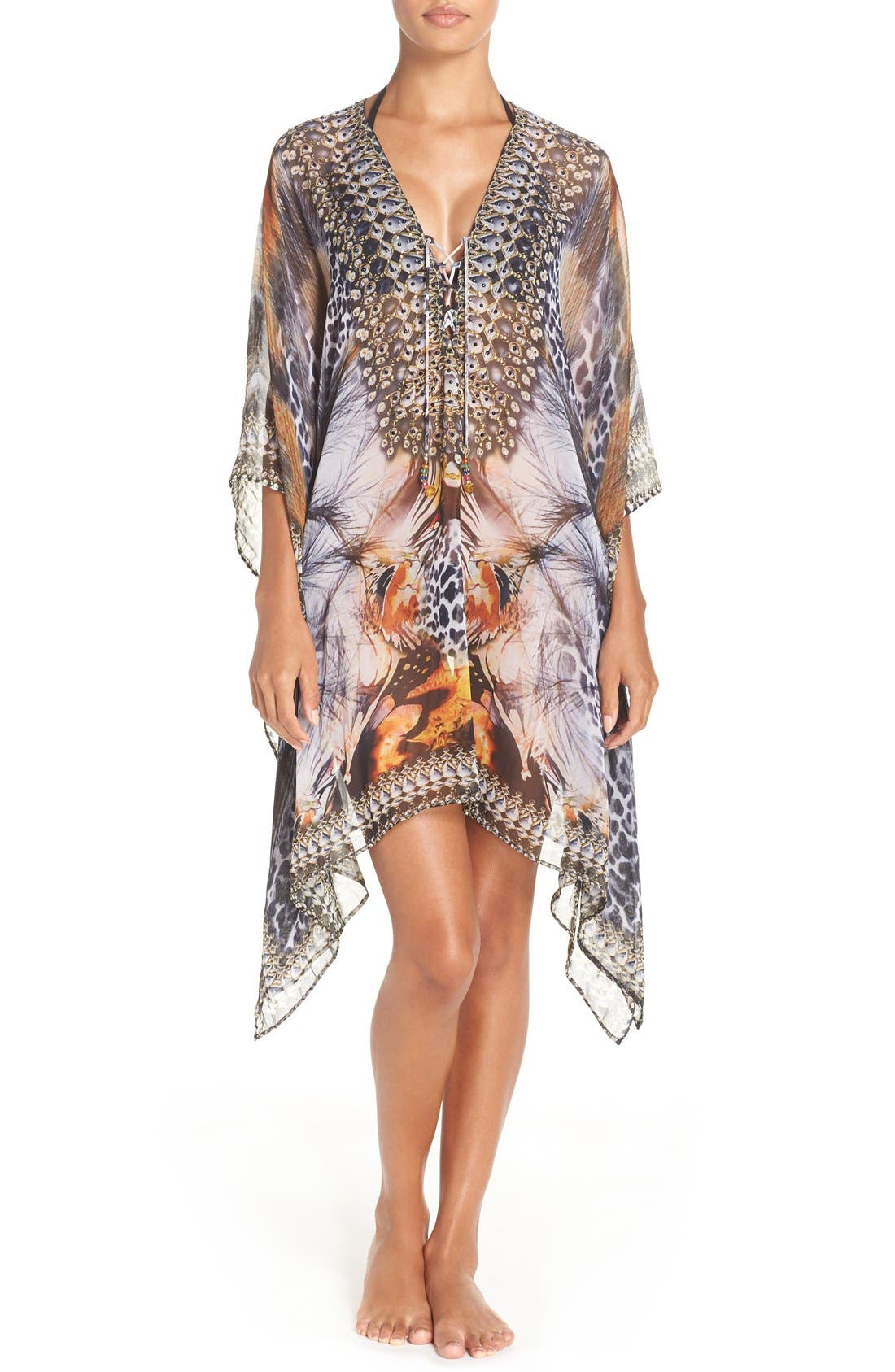 'Capri' Short Kaftan,                             Main thumbnail 1, color,                             BROWN/ MULTI