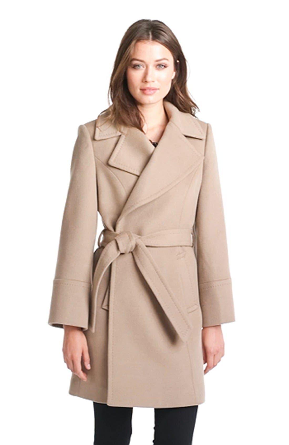 'Chelsea' Wool Blend Wrap Coat,                             Alternate thumbnail 4, color,                             263