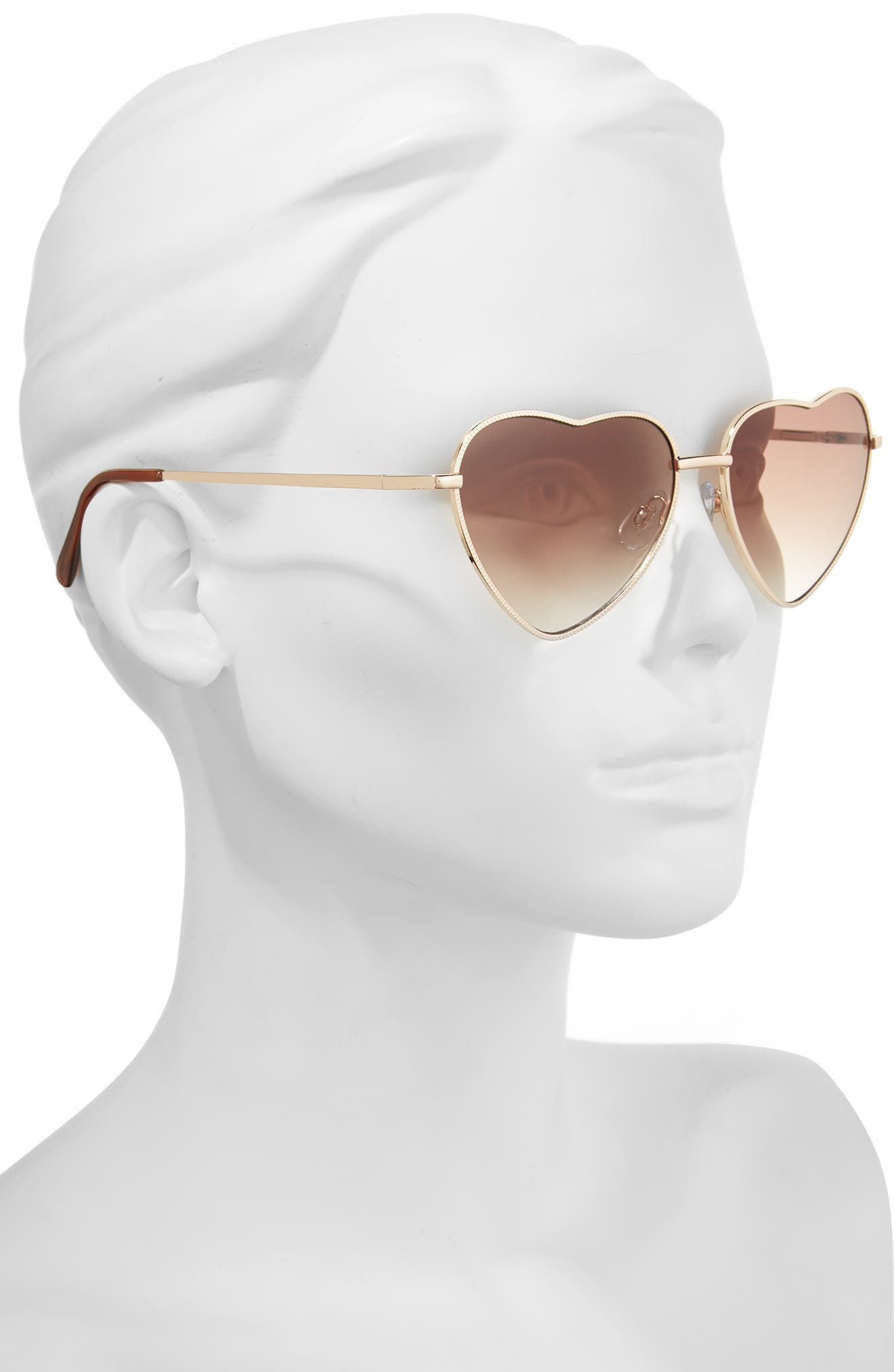 Heart Shaped 58mm Sunglasses,                             Alternate thumbnail 3, color,                             GOLD/ BROWN