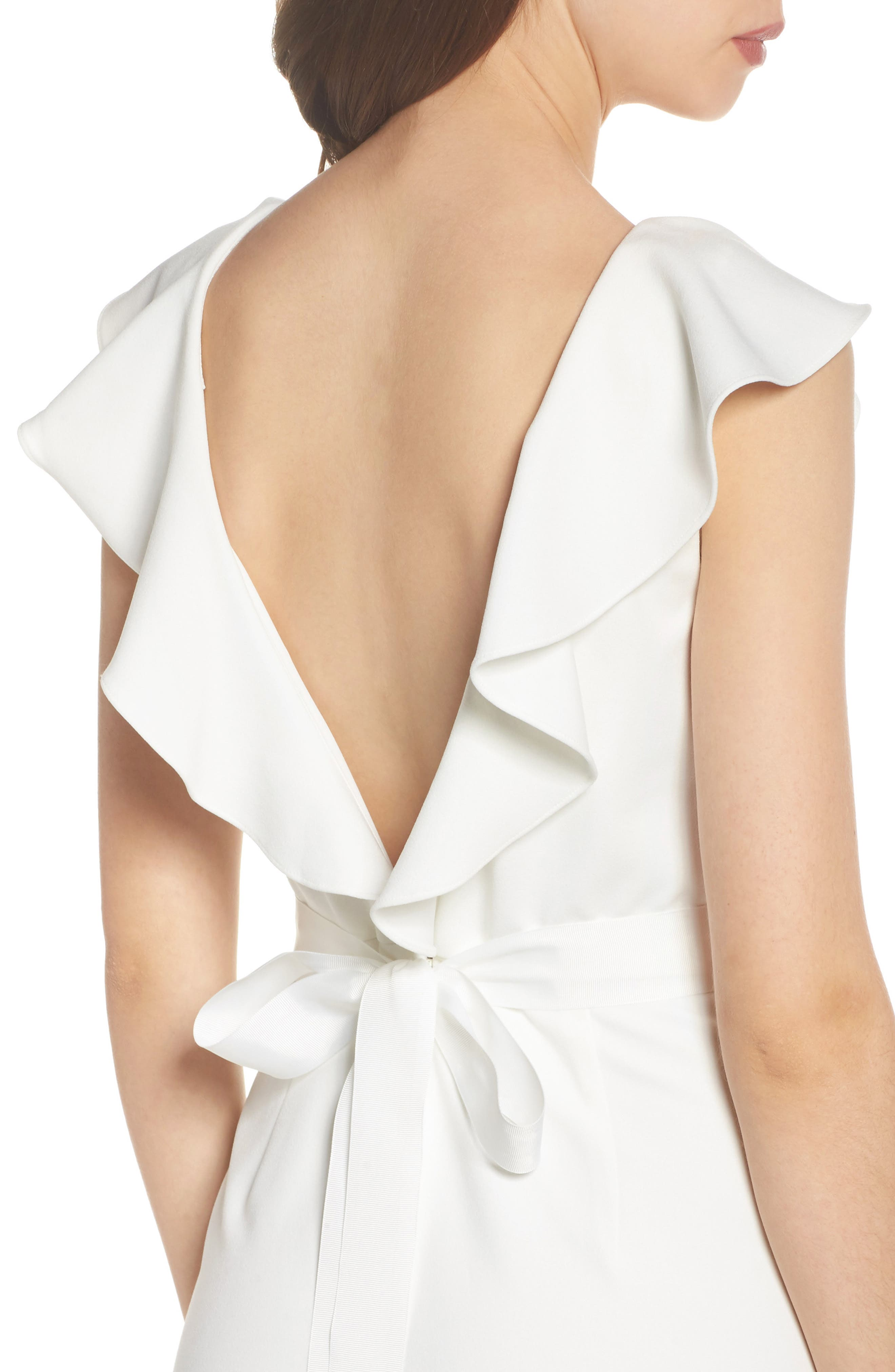 Ruffle Back Belted Gown,                             Alternate thumbnail 4, color,                             900