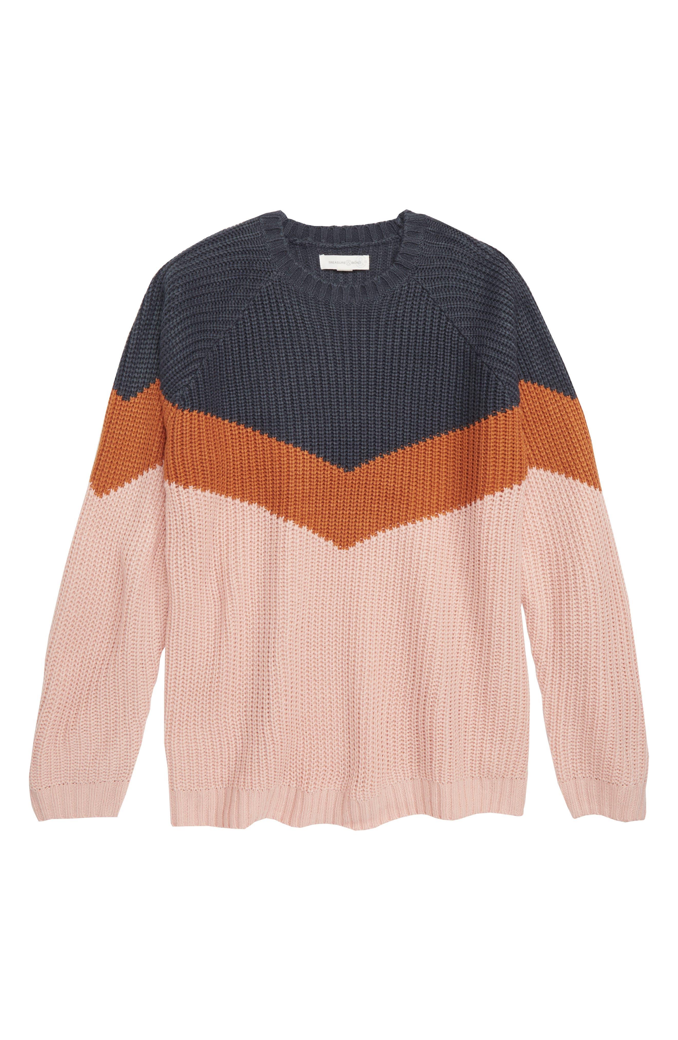 Girls Treasure  Bond Colorblock Sweater Size L (1012)  Blue