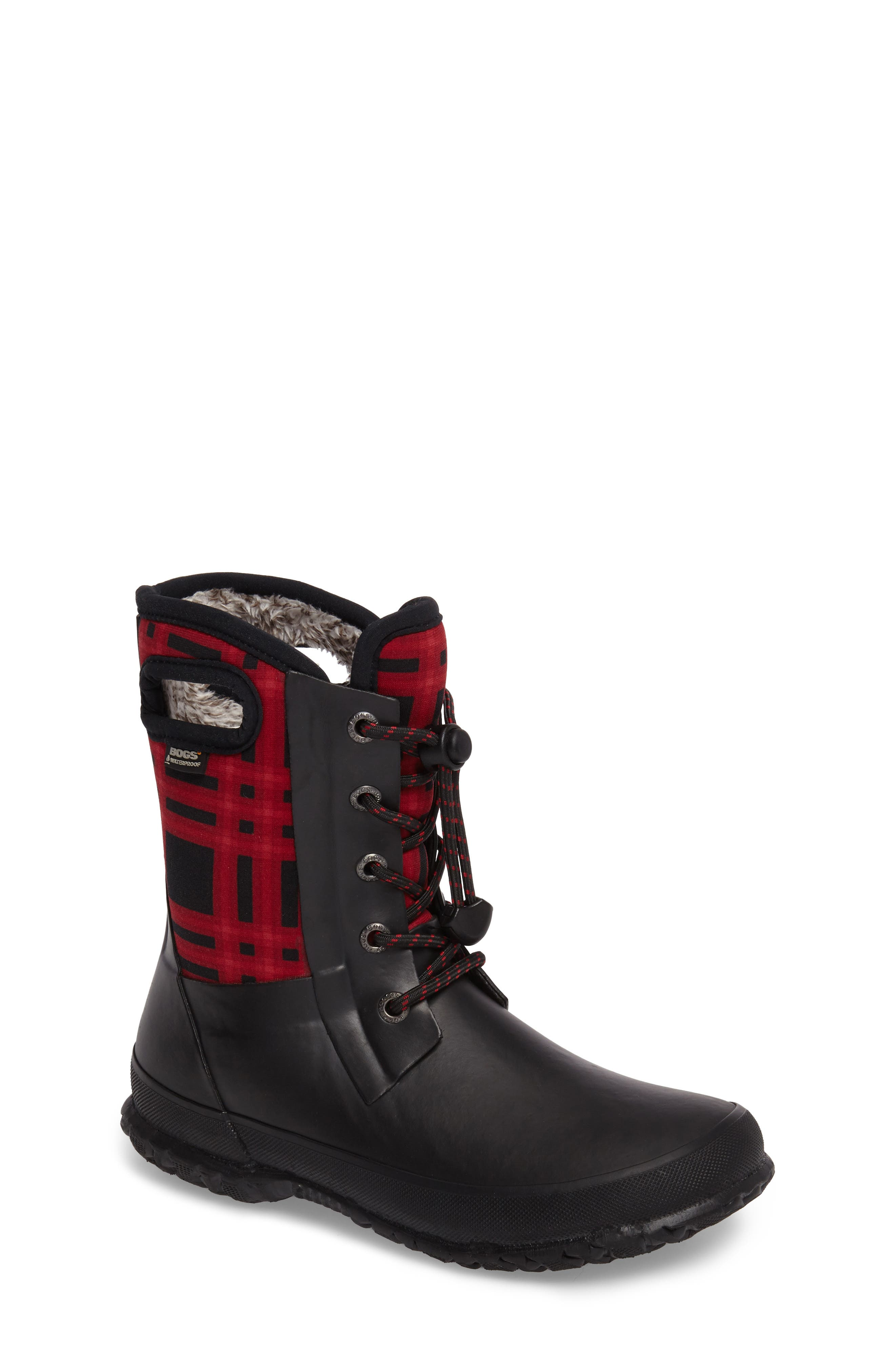 Amanda Plaid Insulated Waterproof Boot,                         Main,                         color, 009