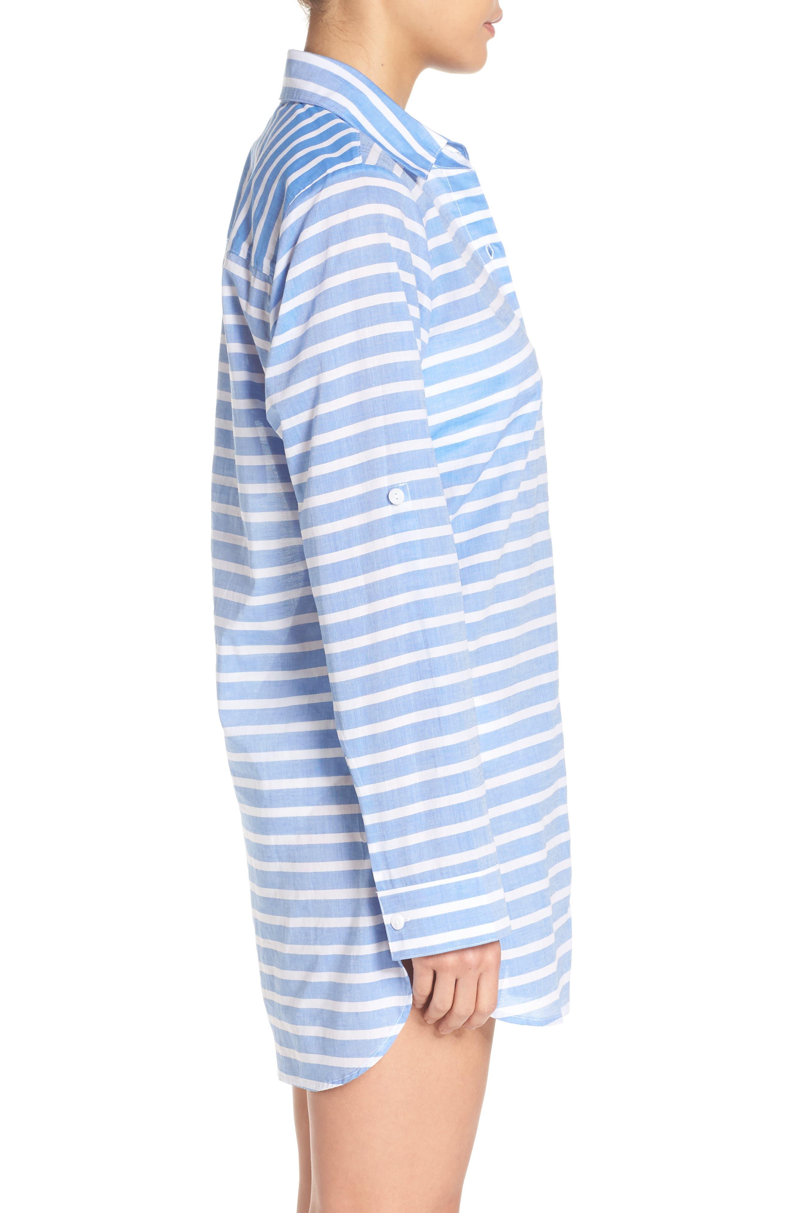 Brenton Stripe Boyfriend Shirt Cover-Up,                             Alternate thumbnail 9, color,