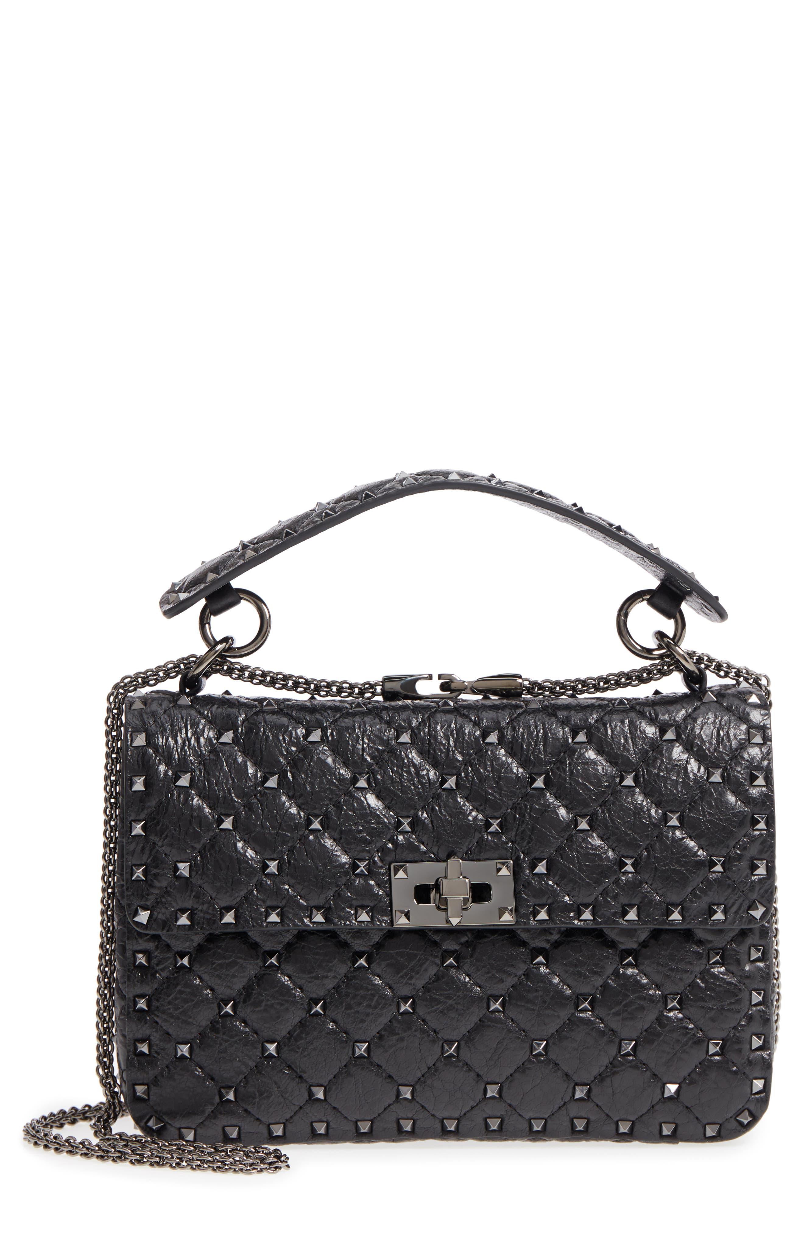 Vitello Rockstud Lambskin Leather Shoulder Bag, Main, color, NERO