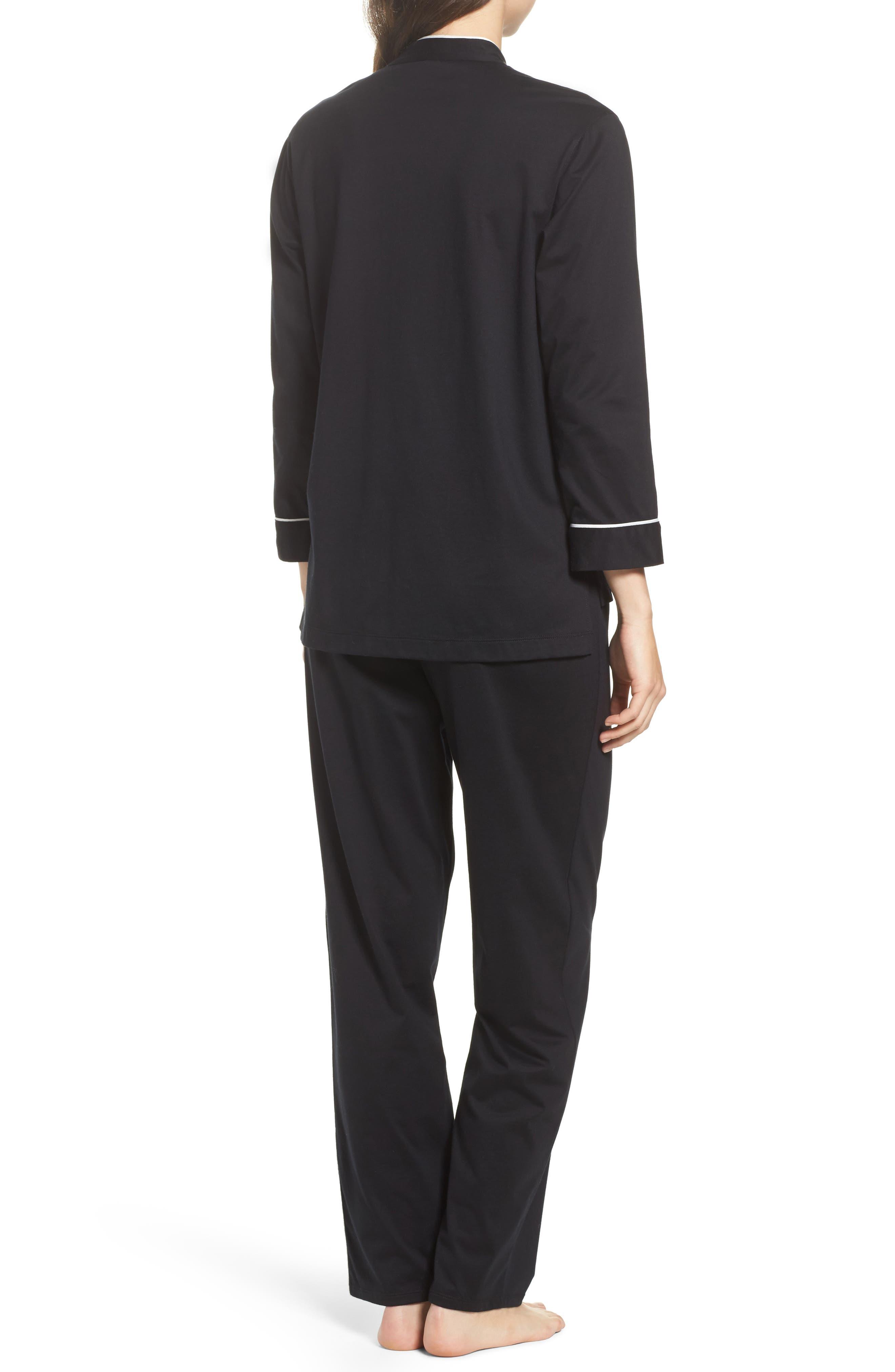 Bliss Supima<sup>®</sup> Cotton Mandarin Pajamas,                             Alternate thumbnail 2, color,                             001