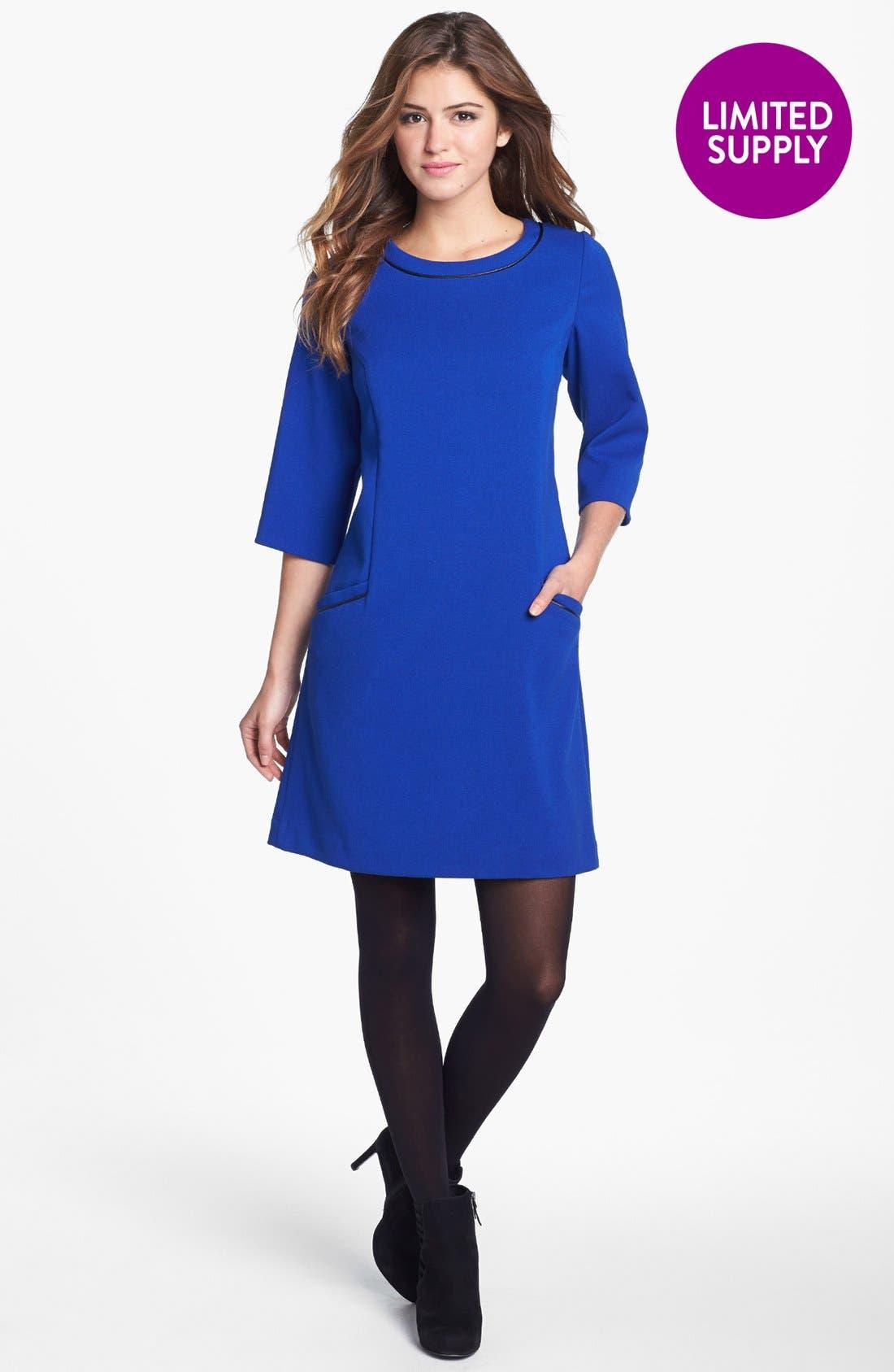 ELIZA J Faux Leather Trim Ponte Shift Dress, Main, color, 432