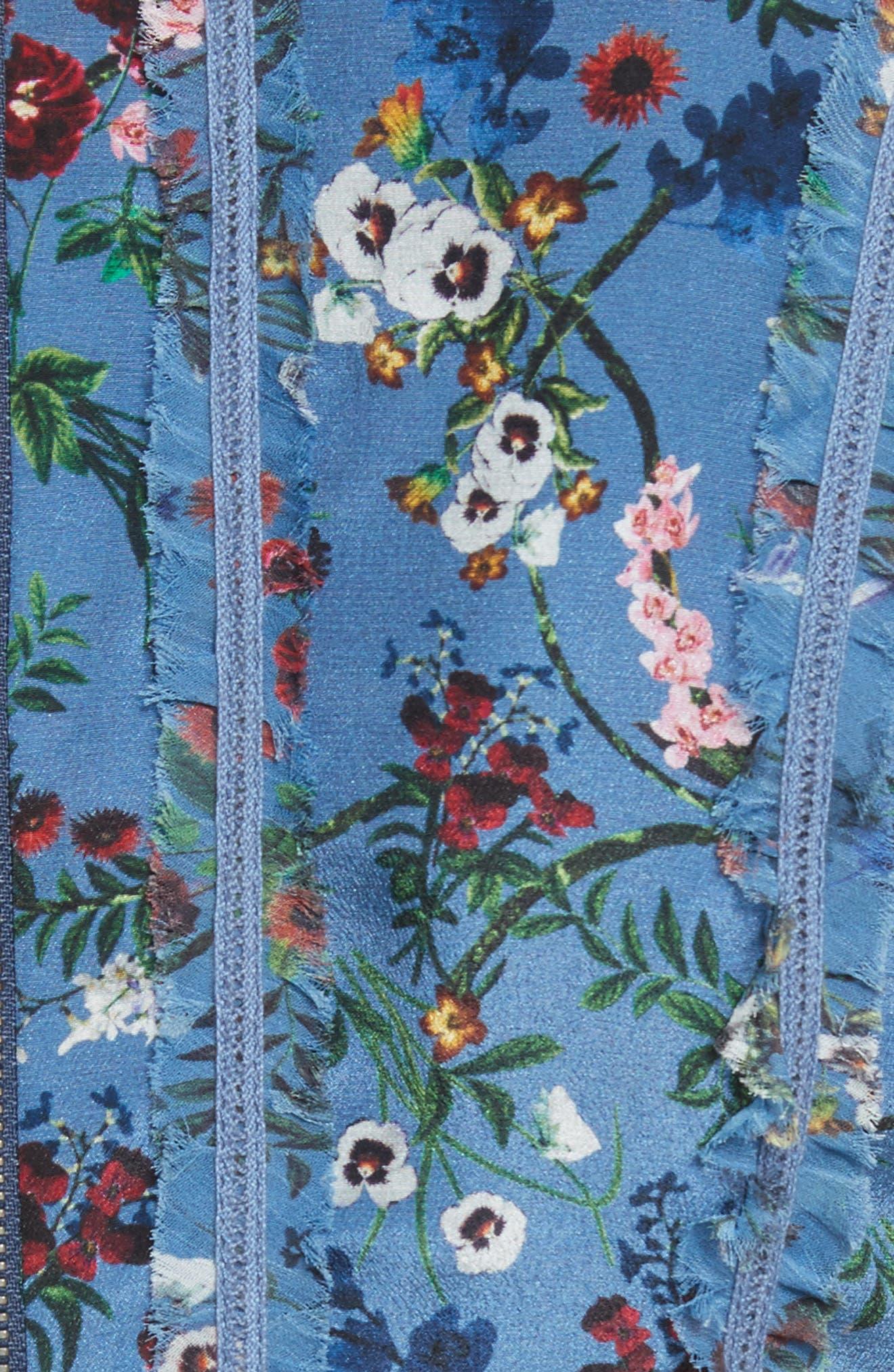 Marta High Neck Floral Silk Dress,                             Alternate thumbnail 5, color,                             486