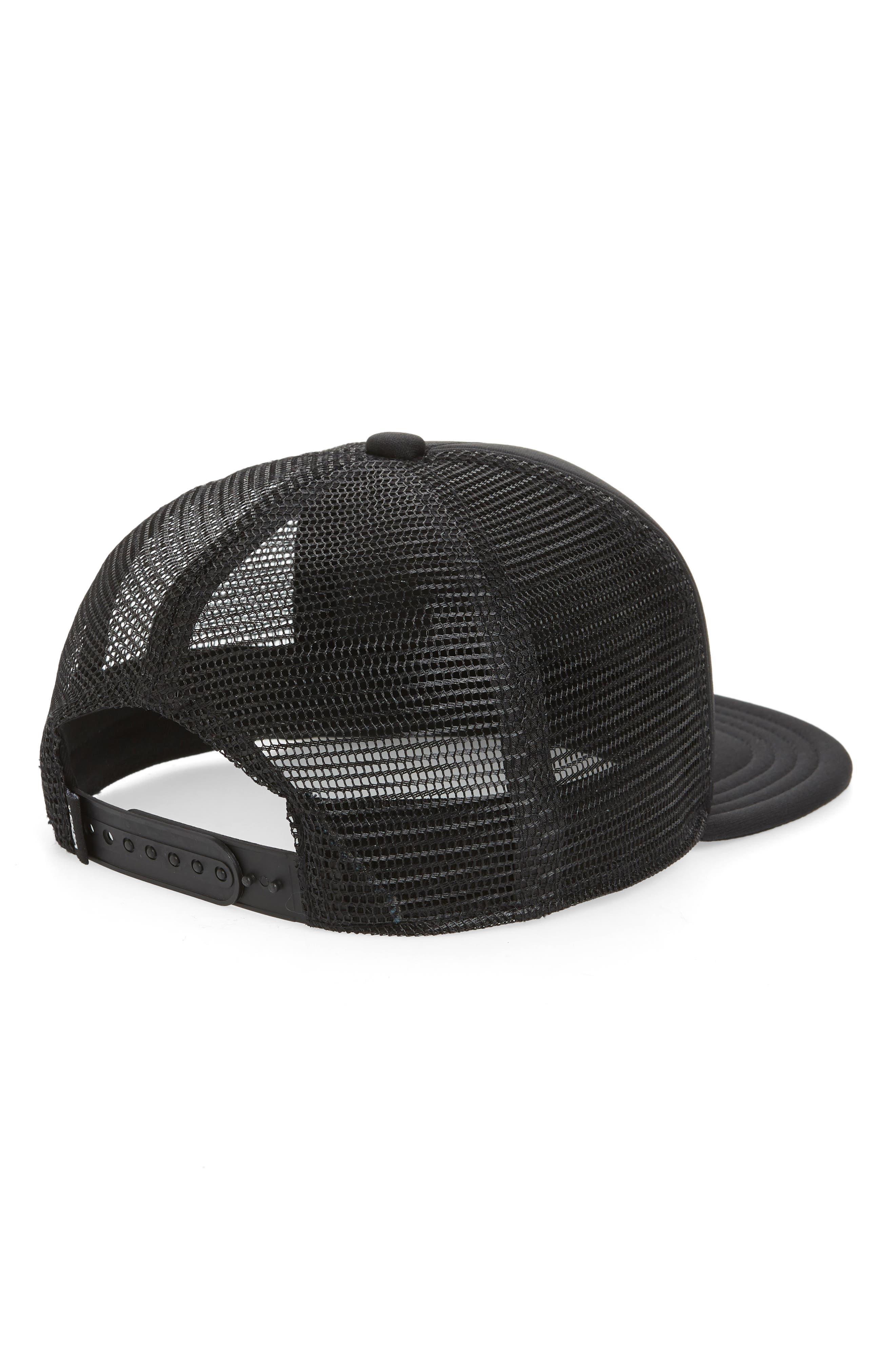 VANS,                             Classic Logo Print Trucker Hat,                             Alternate thumbnail 2, color,                             BLACK/ FLAMES