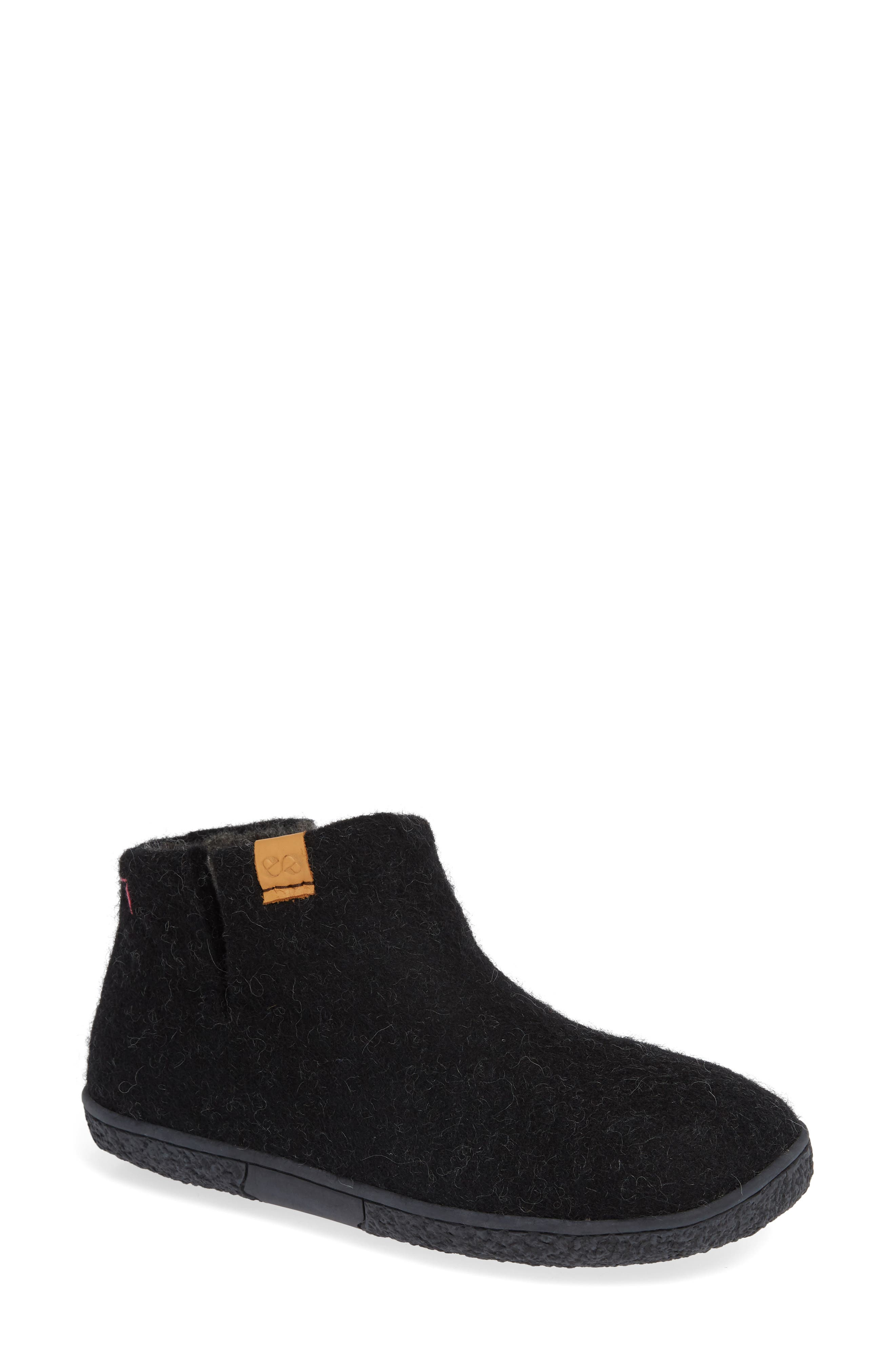 GREEN COMFORT,                             Nepal Slipper Bootie,                             Main thumbnail 1, color,                             BLACK WOOL