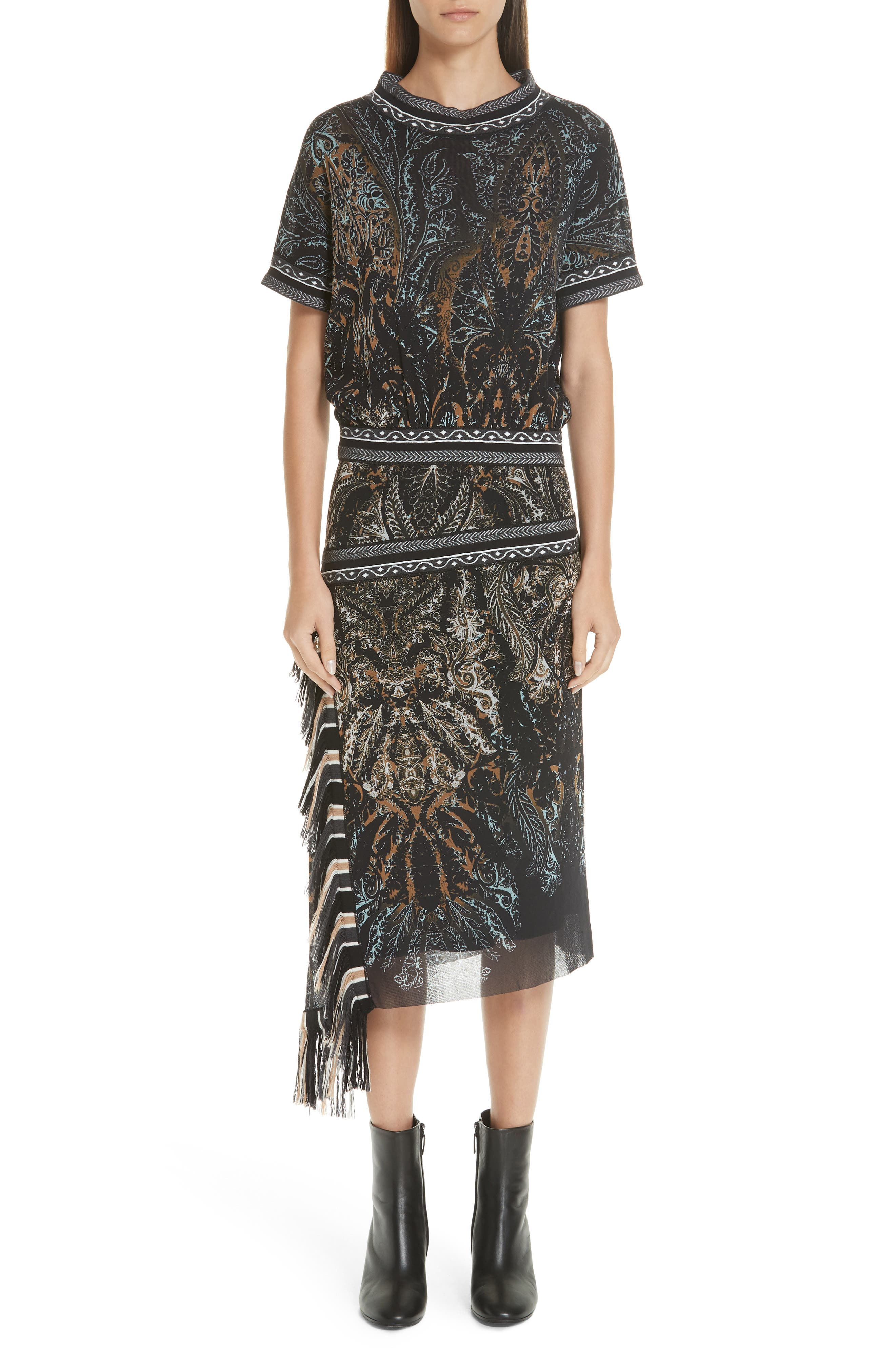 FUZZI Paisley-Print Tulle Blouson Dress W/ Asymmetric Fringe in Nero