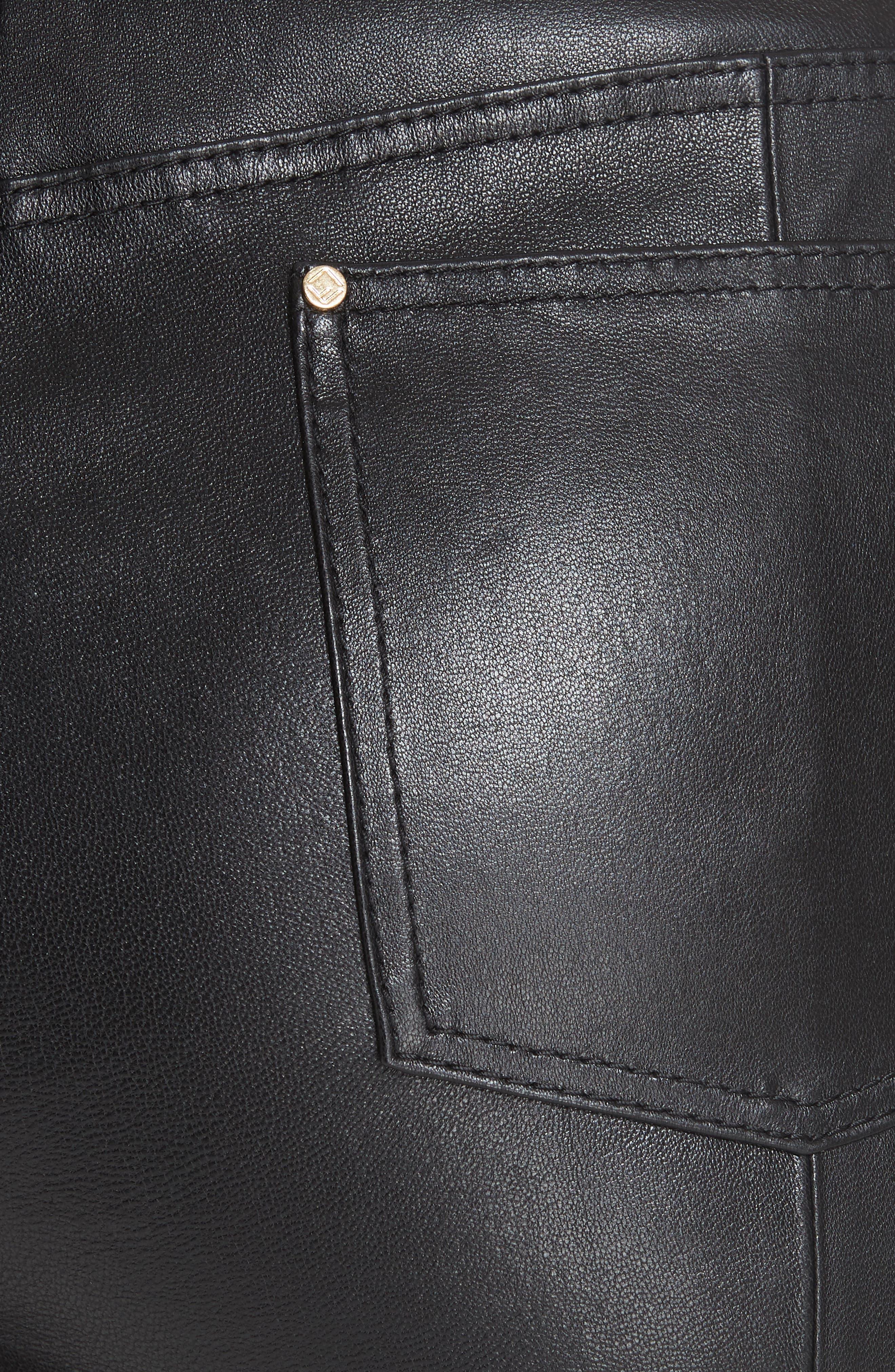 Mercer Nappa Leather Pants,                             Alternate thumbnail 5, color,                             BLACK