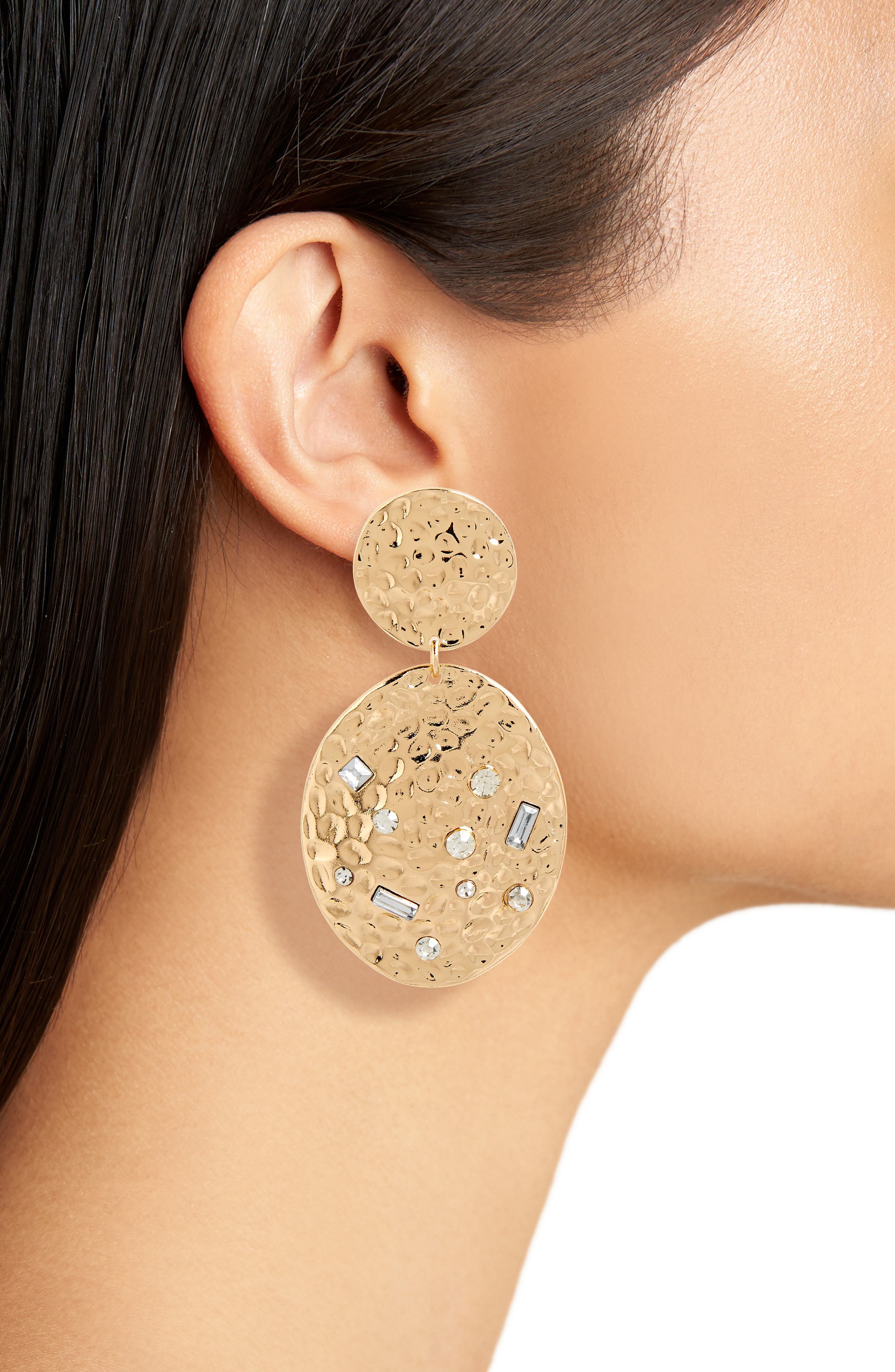 Hammered Metal Statement Earrings,                             Alternate thumbnail 2, color,                             GOLD/ CRYSTAL