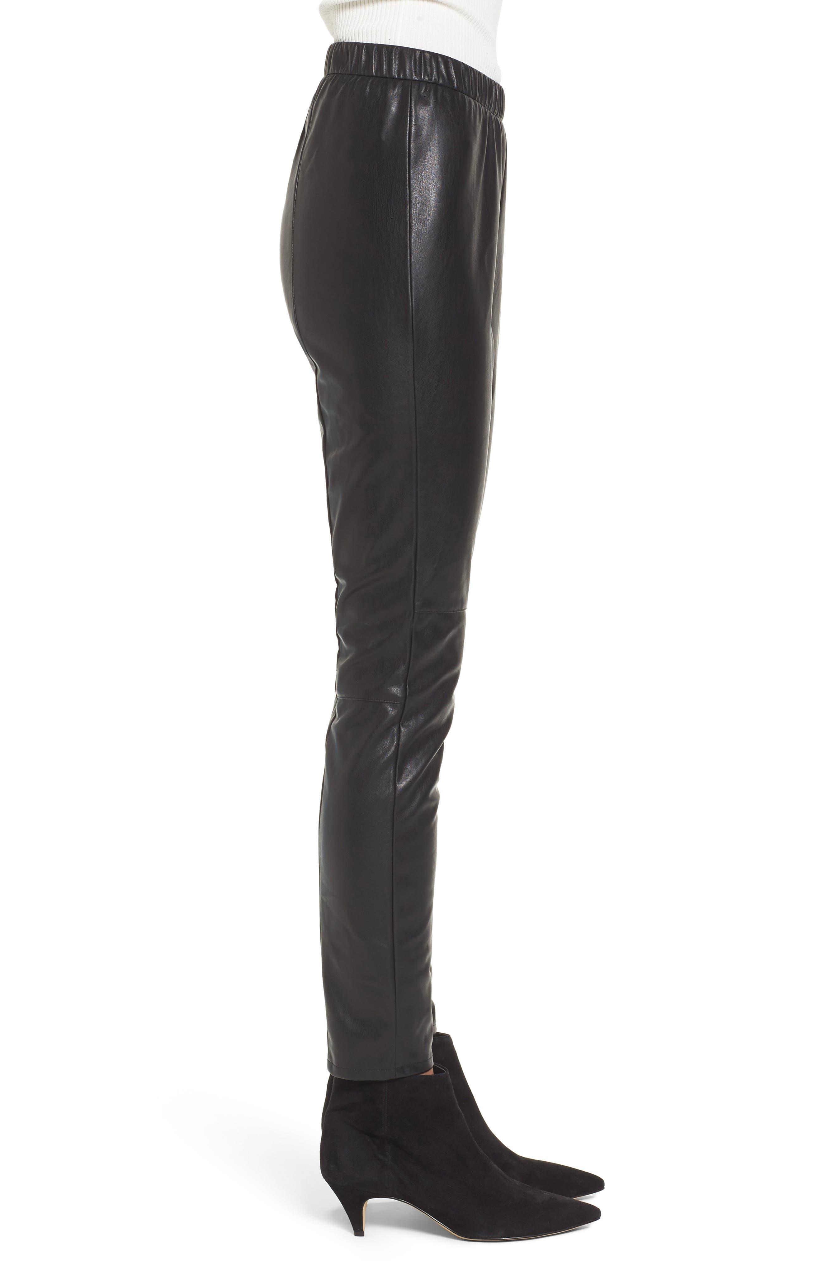 Zowie Faux Leather Pants,                             Alternate thumbnail 3, color,                             001