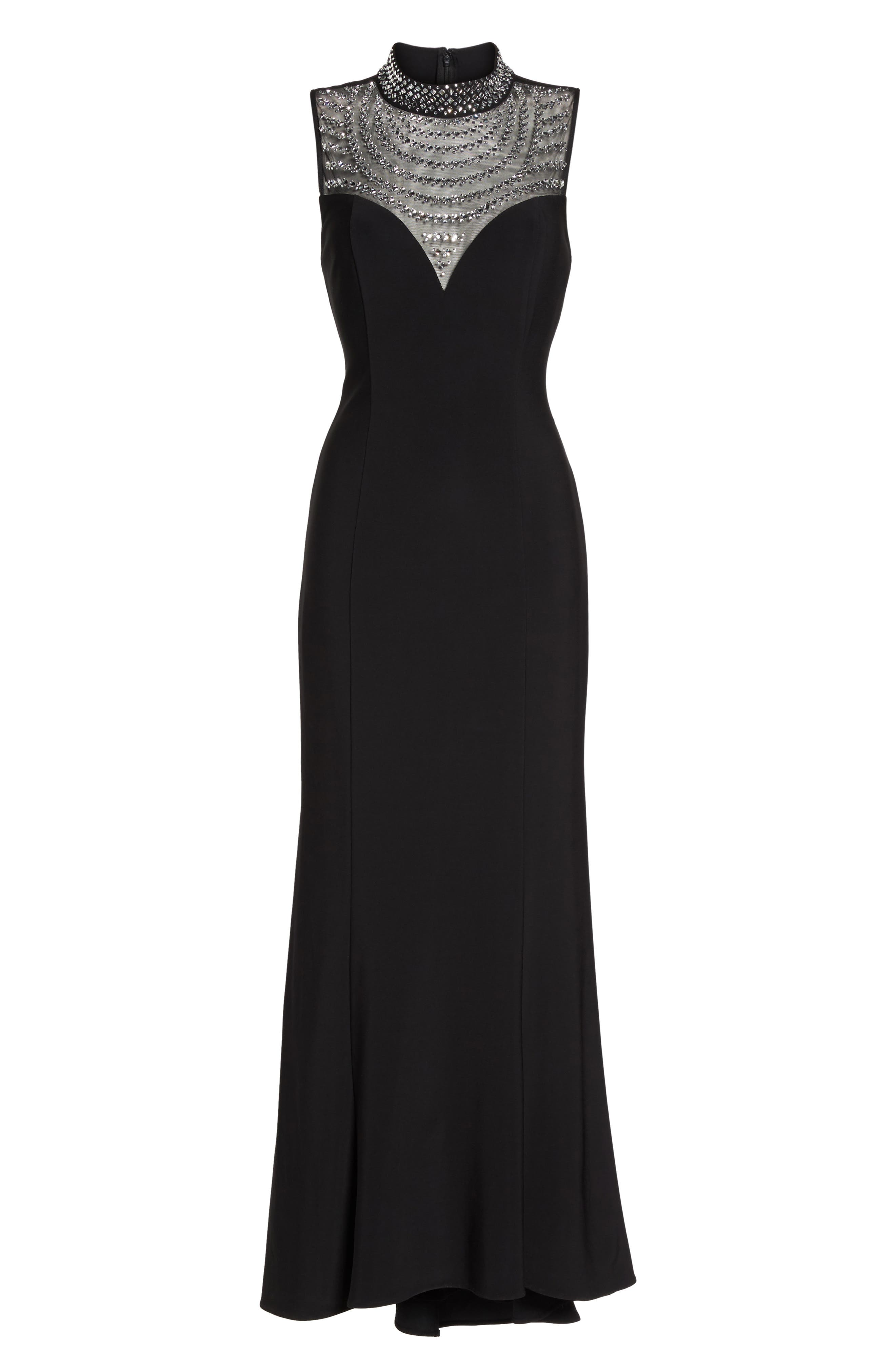 Beaded Illusion Mock Neck Gown,                             Alternate thumbnail 6, color,                             001