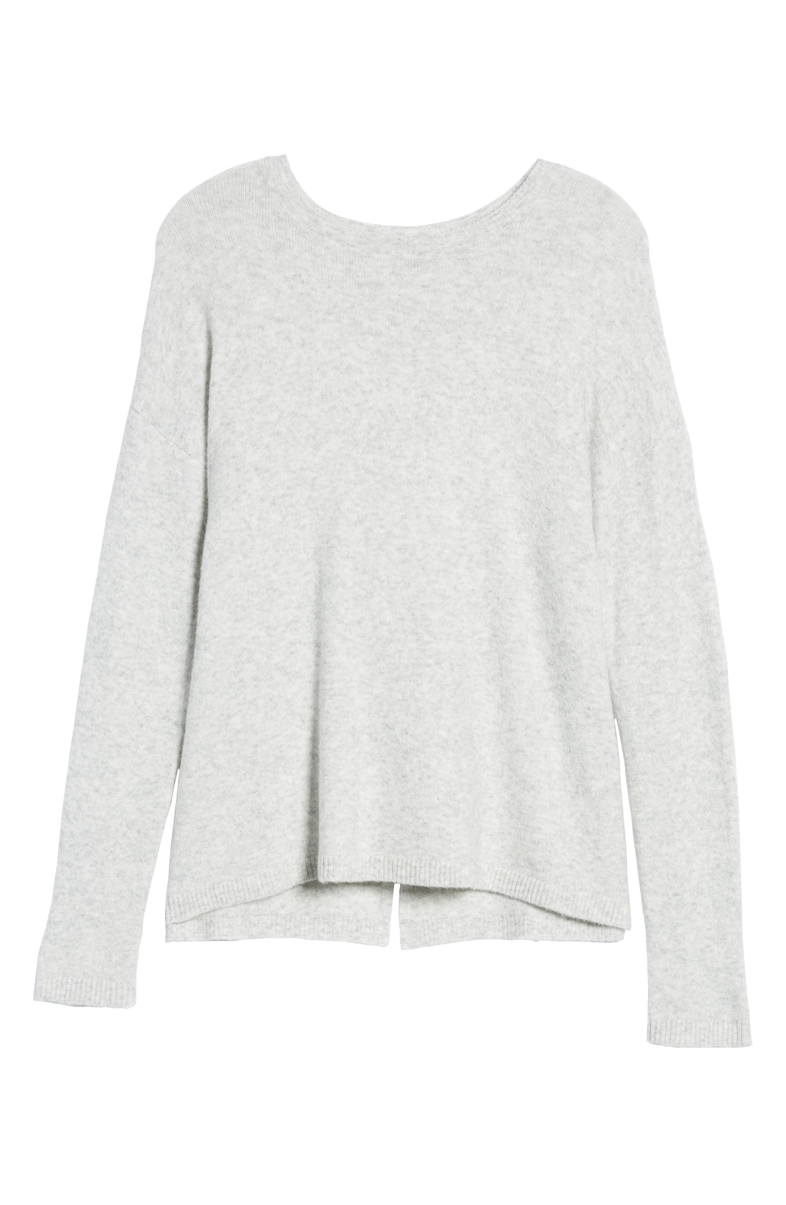 Bow Back Sweater,                             Alternate thumbnail 6, color,                             HEATHER LIGHT GREY