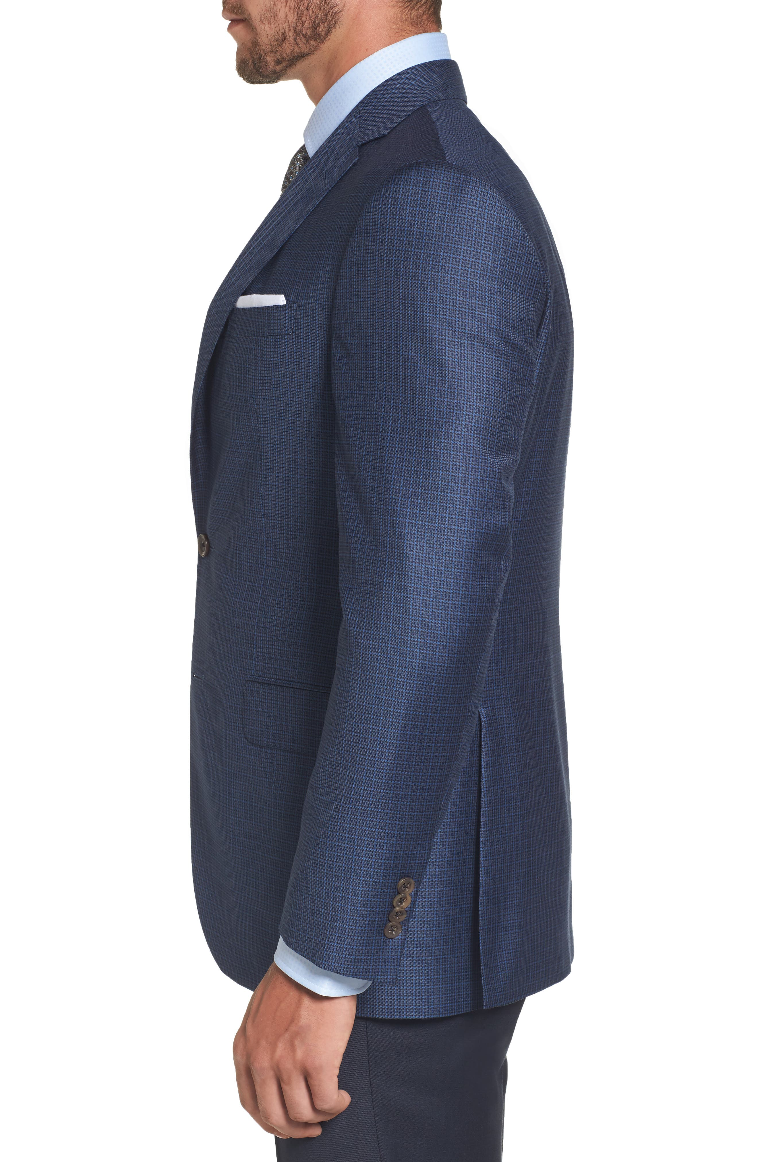 Connor Classic Fit Check Wool Sport Coat,                             Alternate thumbnail 3, color,