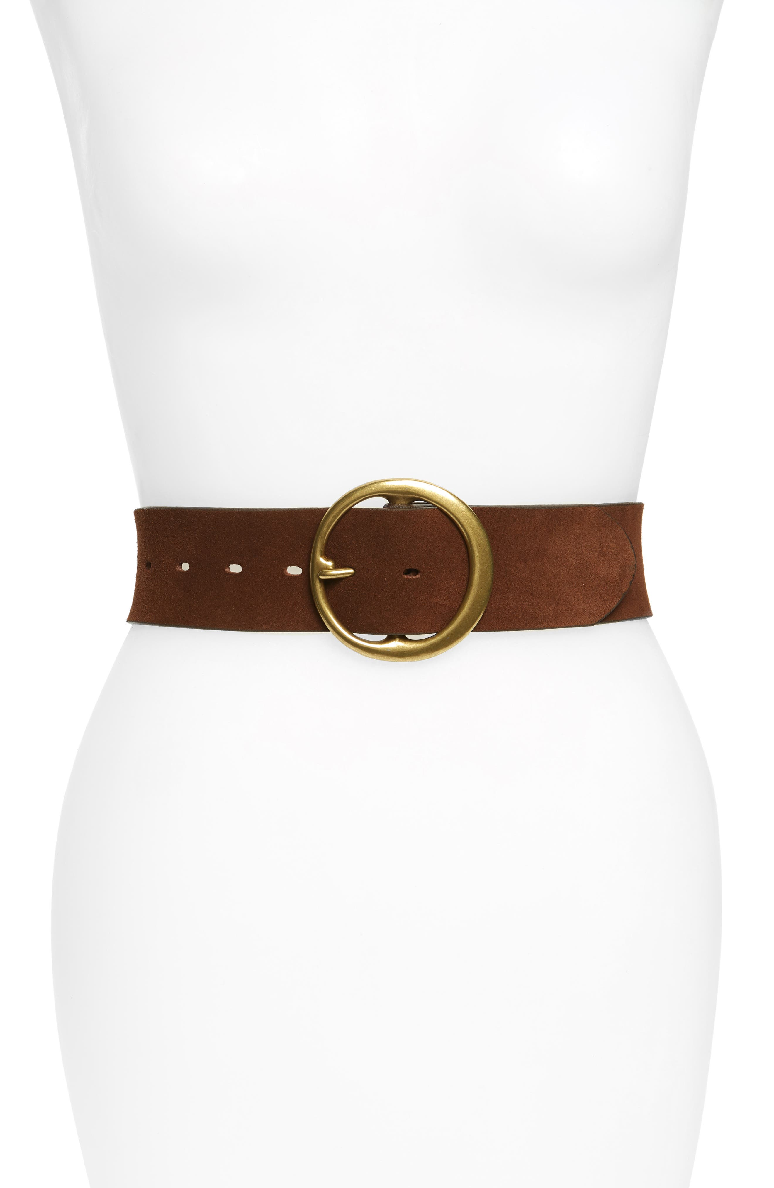Round Buckle Suede Belt,                             Main thumbnail 1, color,                             COGNAC