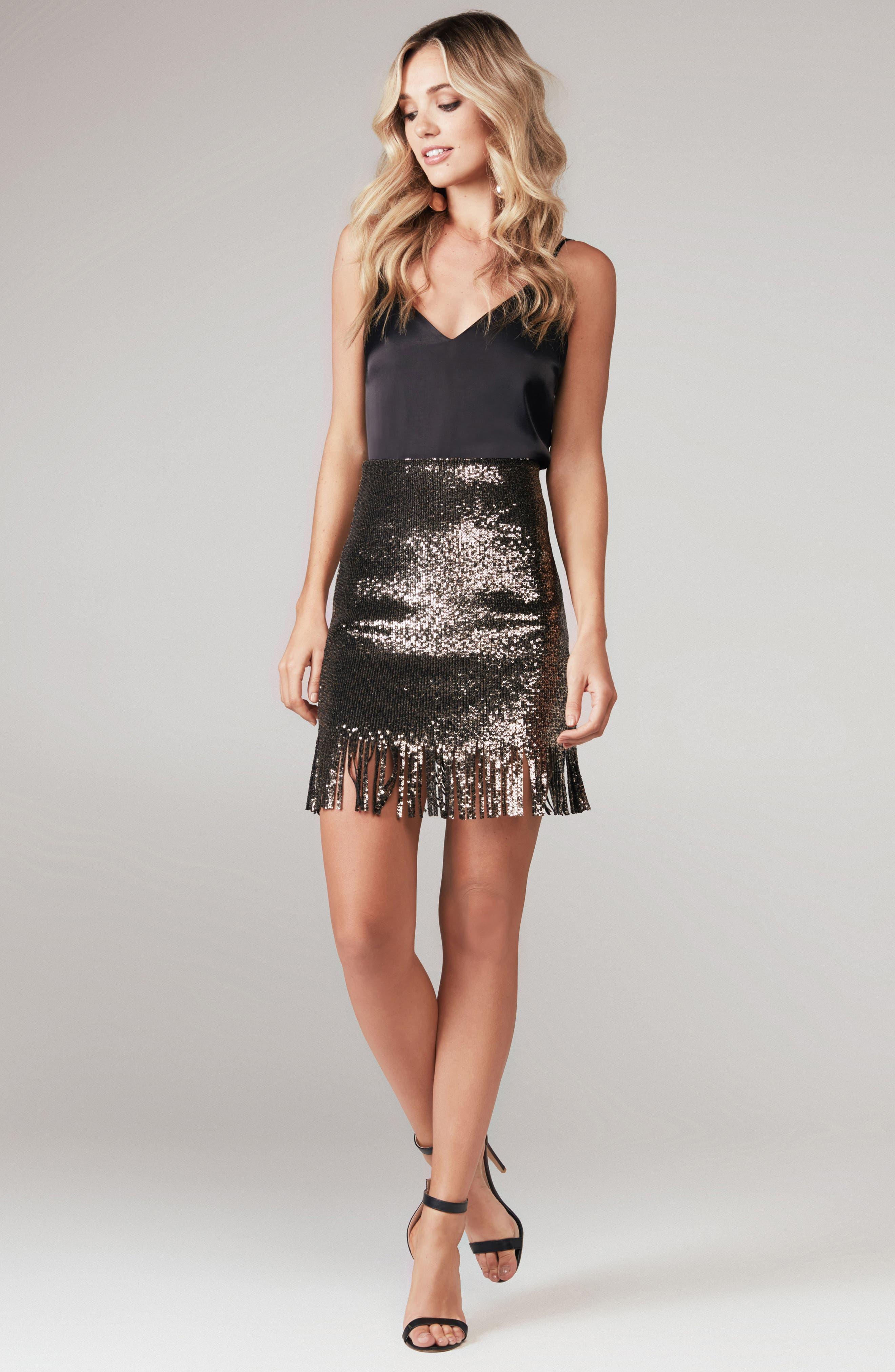 BARDOT,                             Sequin Fringe Skirt,                             Alternate thumbnail 7, color,                             710