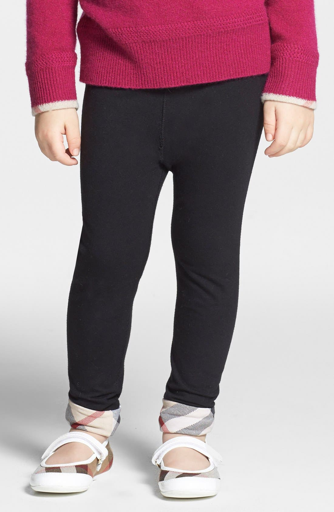 BURBERRY,                             Check Cuff Pants,                             Alternate thumbnail 3, color,                             001