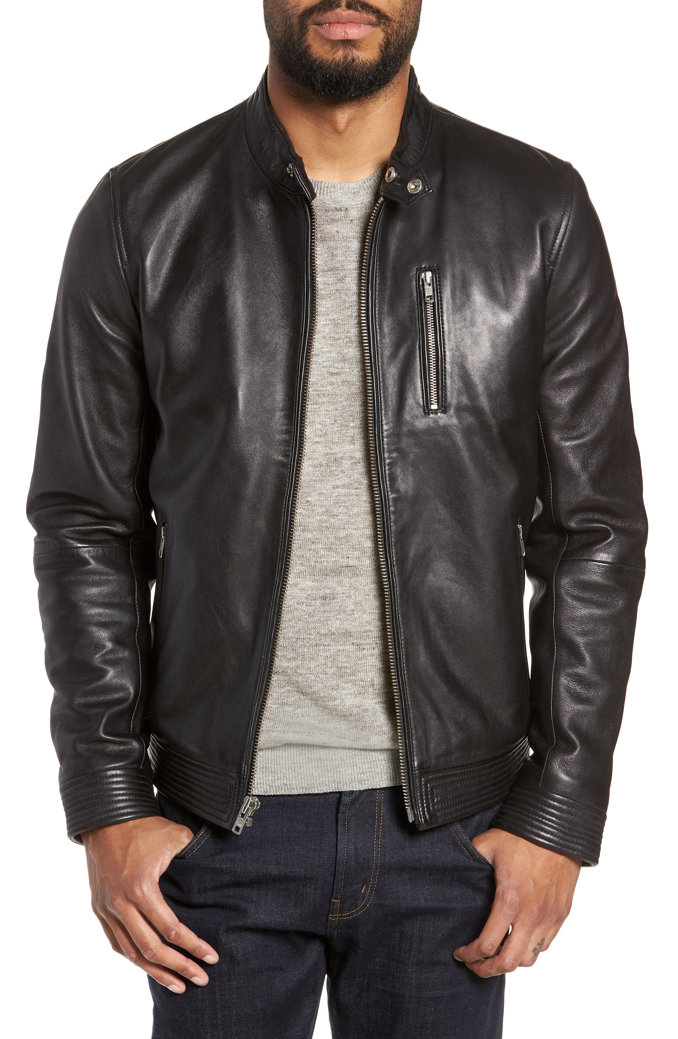 Leather Racer Jacket,                             Main thumbnail 1, color,                             001