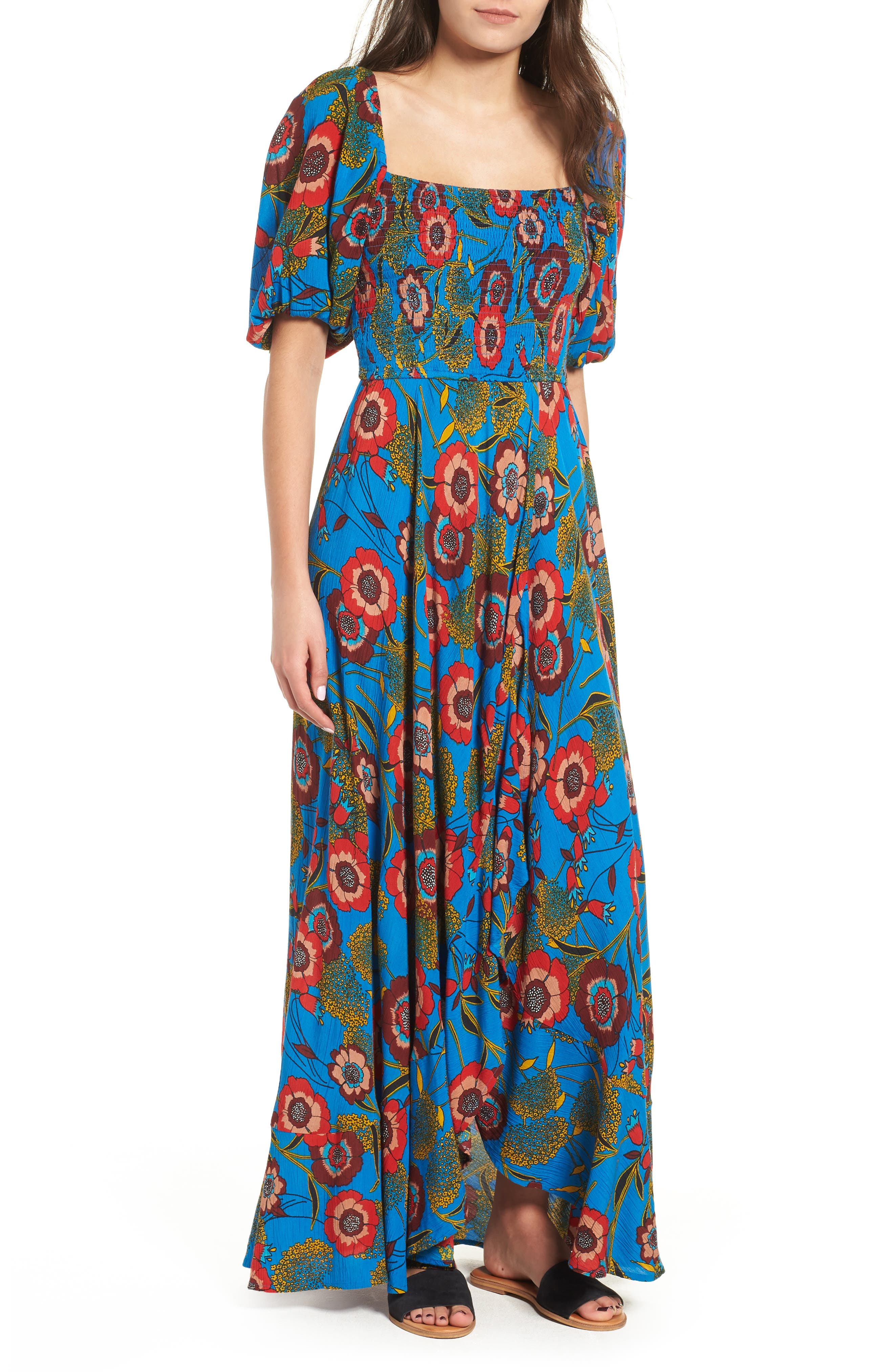 Heirloom Blossom Maxi Dress,                             Main thumbnail 1, color,                             ROYAL/ BLUE/ RED