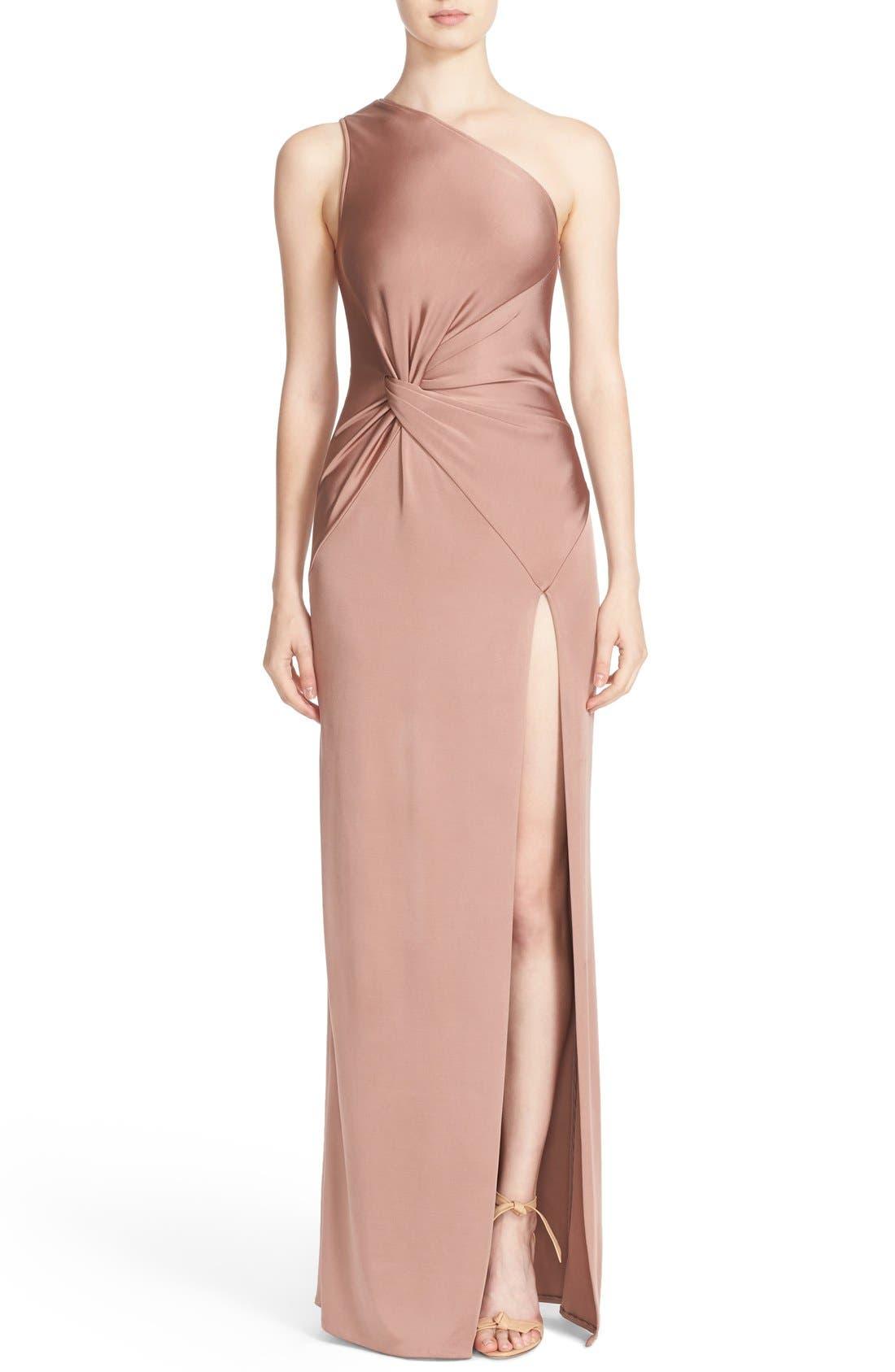 One-Shoulder Twist Gown,                             Main thumbnail 1, color,                             DUNE