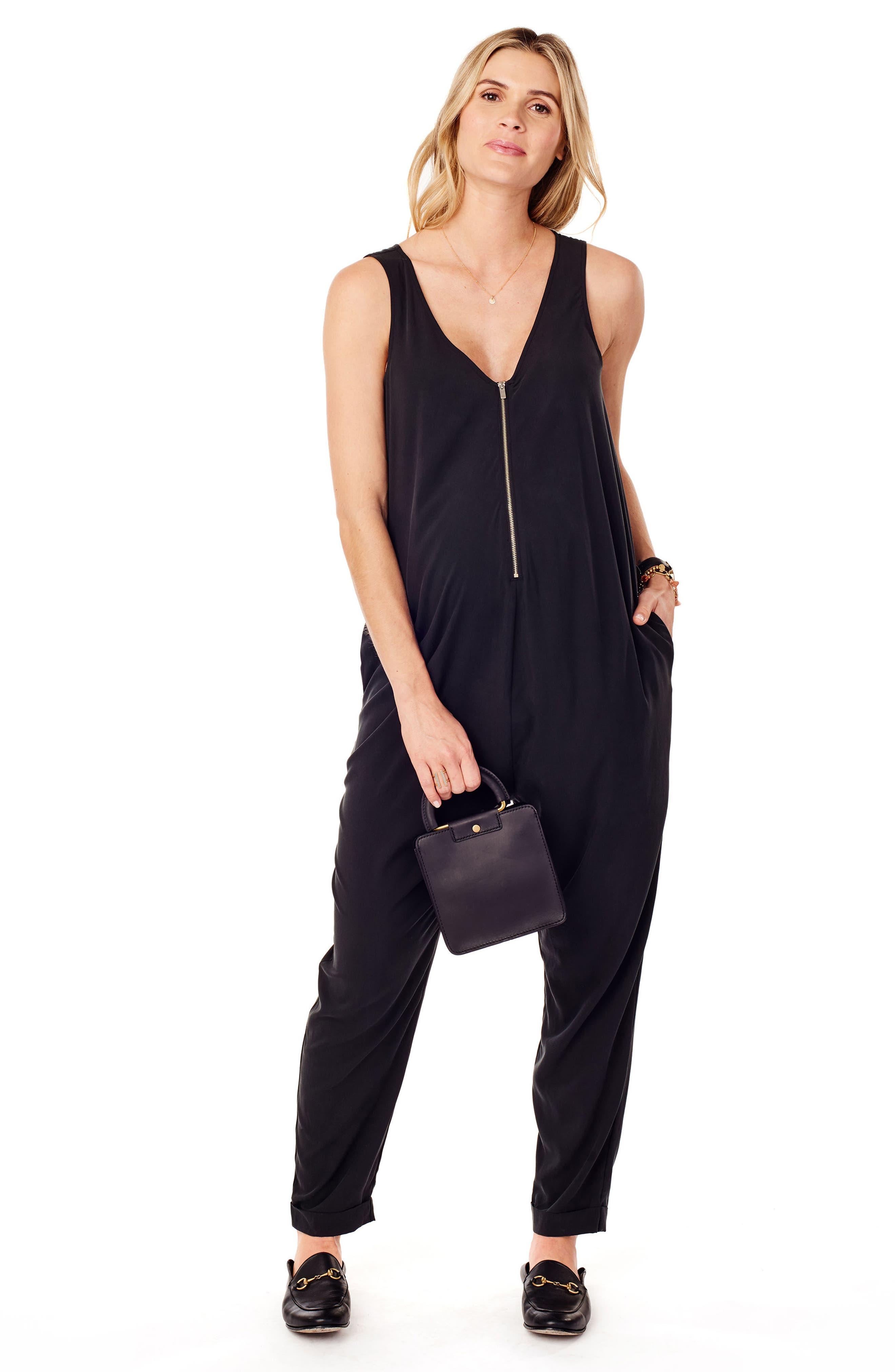 Zip Front Maternity/Nursing Jumpsuit,                             Alternate thumbnail 5, color,                             JET BLACK
