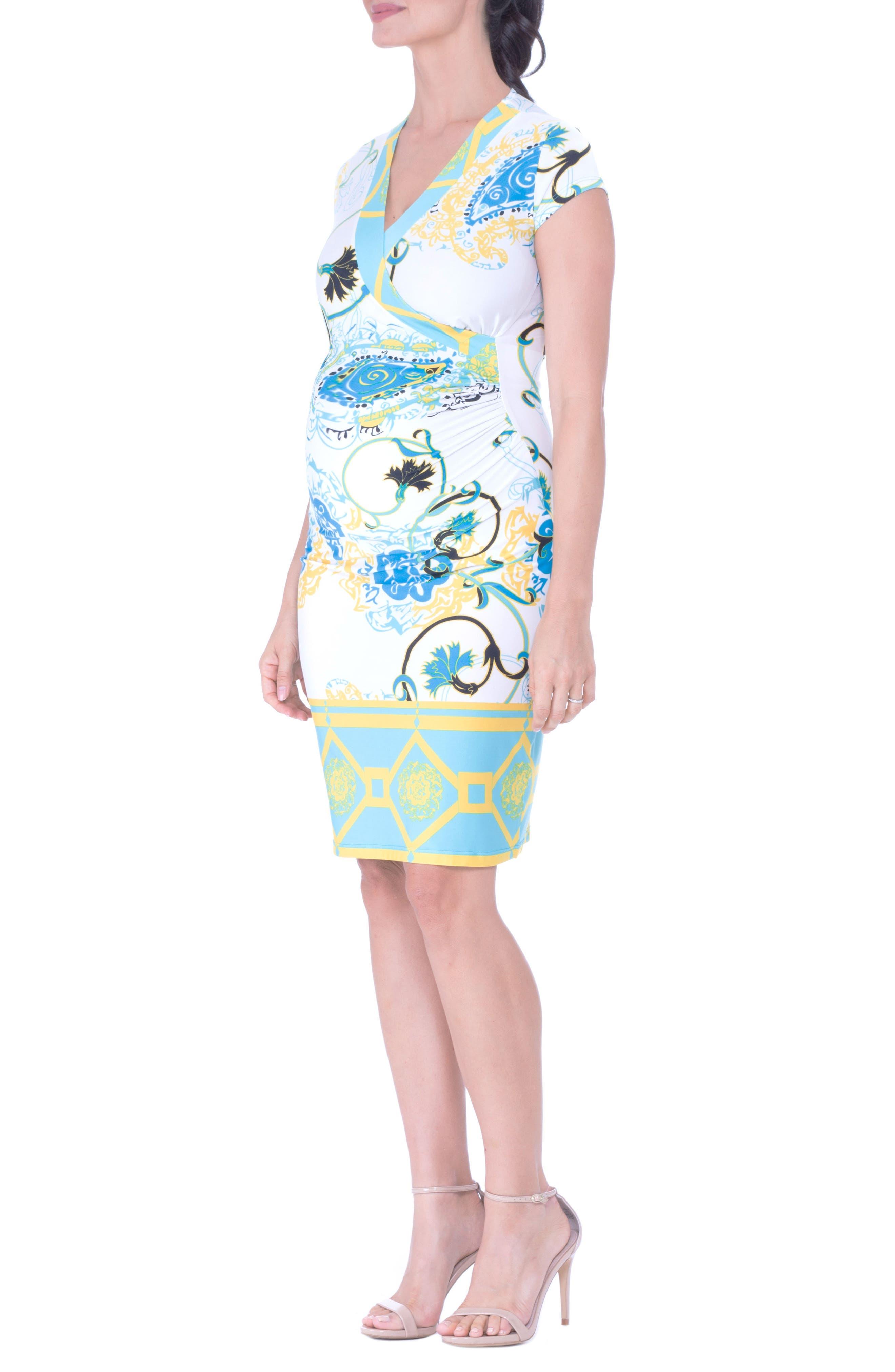 Faux Wrap Maternity Dress,                             Alternate thumbnail 4, color,                             AQUA