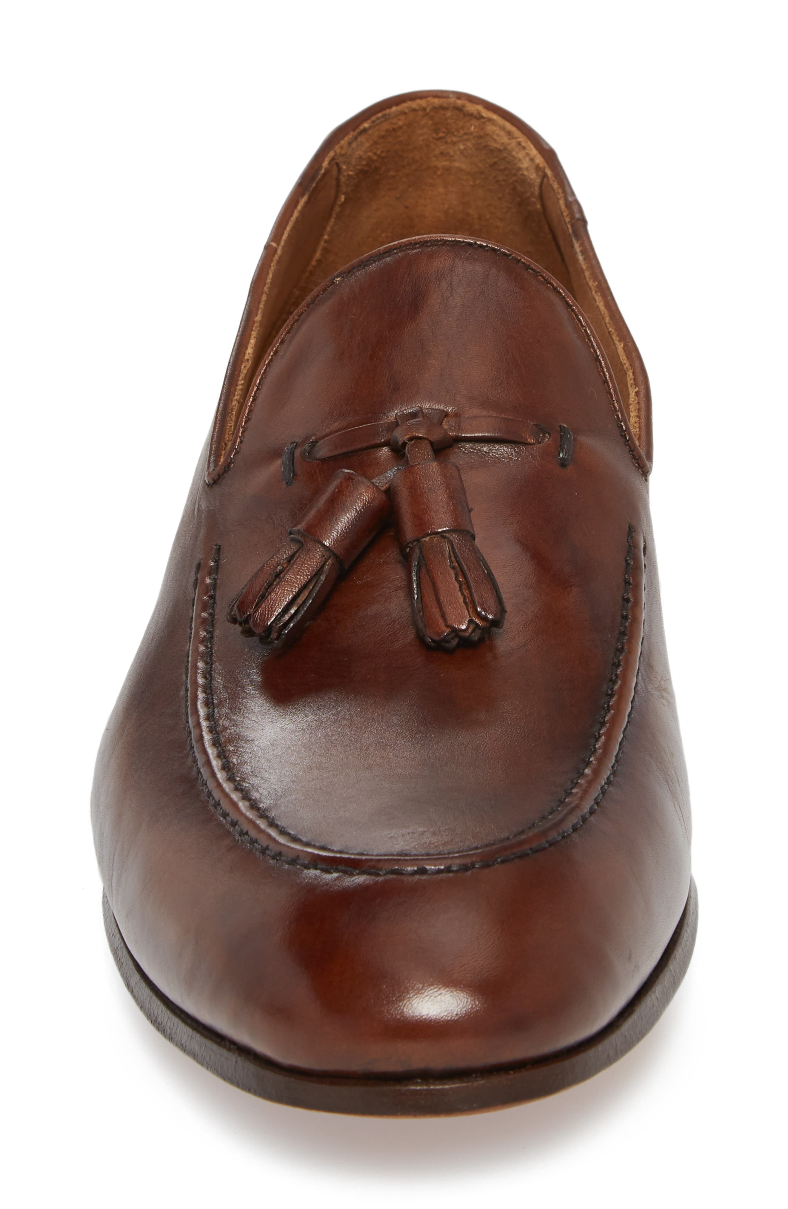 Ario Tassel Loafer,                             Alternate thumbnail 4, color,                             BROWN LEATHER