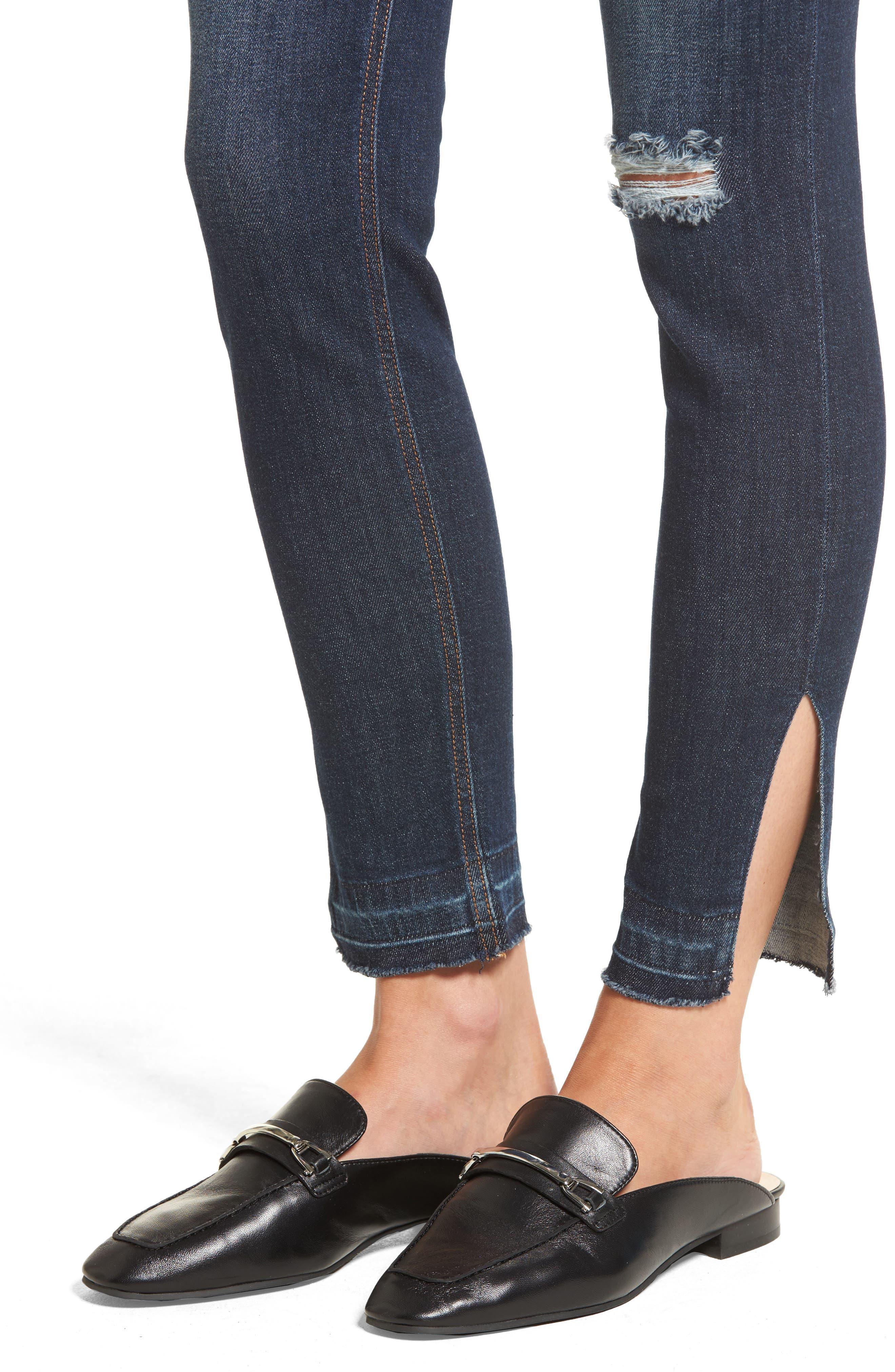 Split Hem Skinny Jeans,                             Alternate thumbnail 4, color,                             401