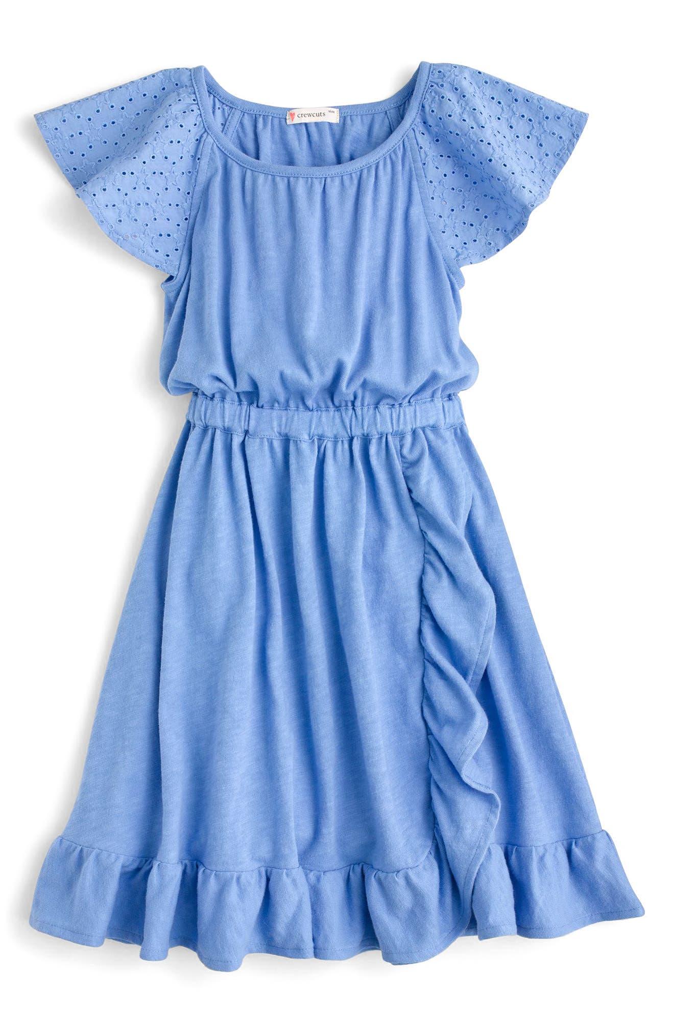 Sorelle Eyelet Ruffle Dress,                             Main thumbnail 2, color,