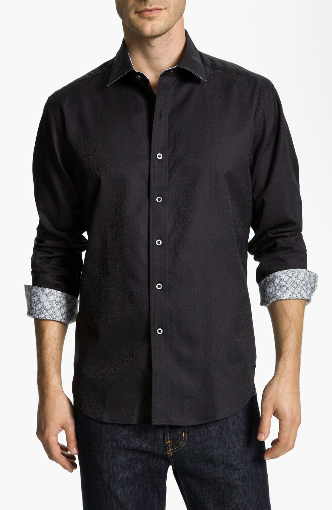 LONG SLEEVE WOVEN WINDSOR SPORTSHIRT,                             Main thumbnail 1, color,                             001