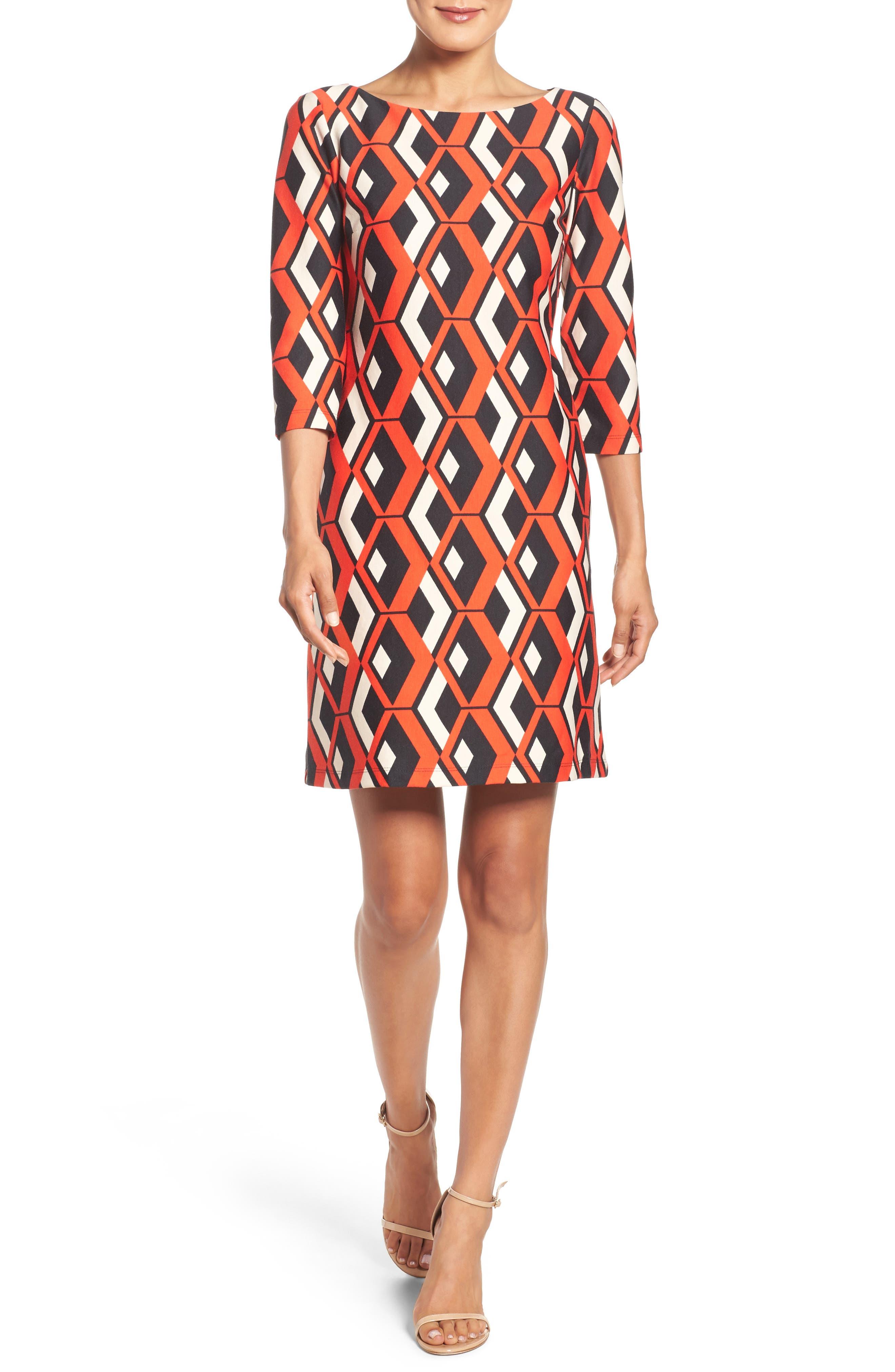 Geo Print Shift Dress,                         Main,                         color, 628