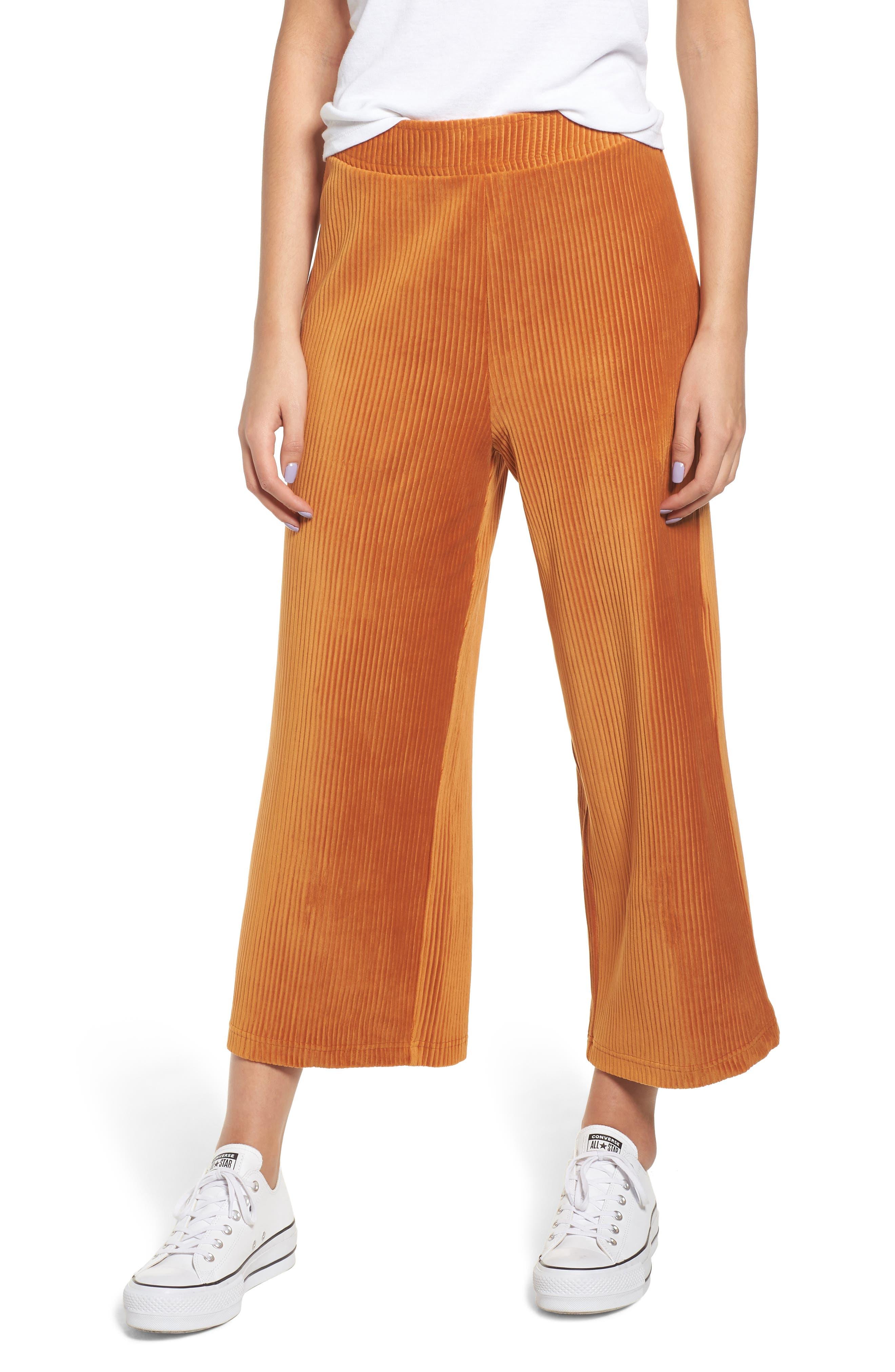 High Rise Knit Corduroy Crop Pants,                         Main,                         color, RUST CIDER