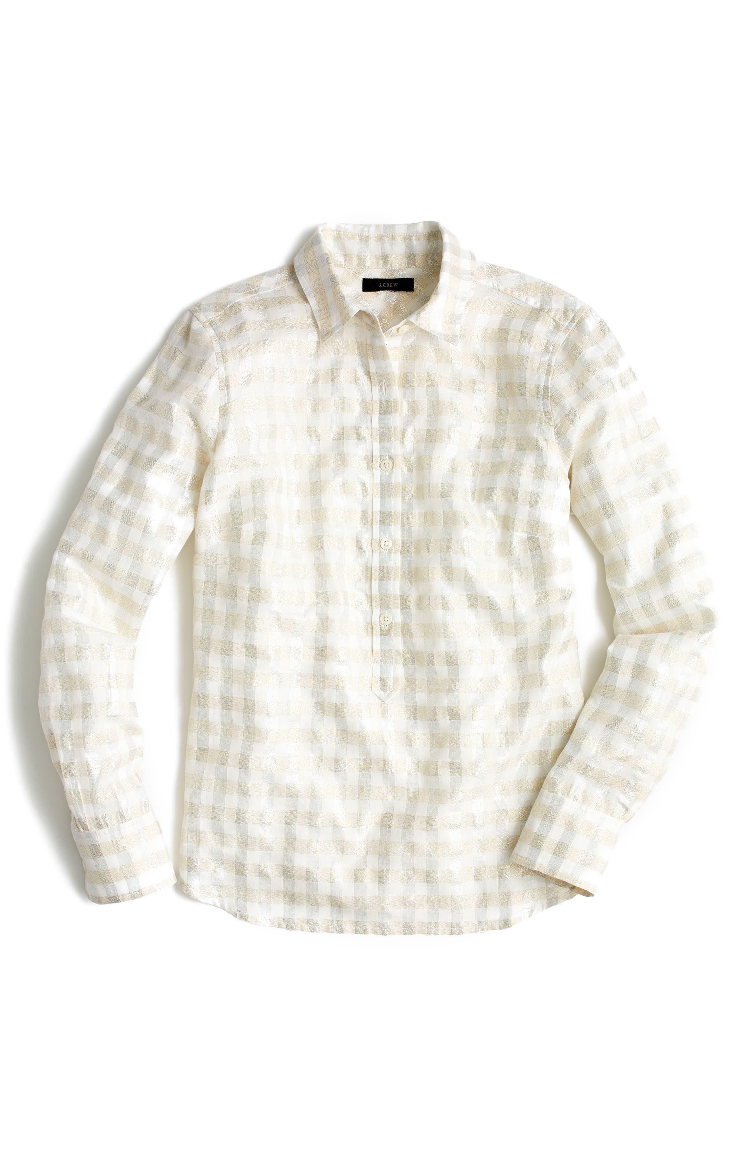 Metallic Cotton Voile Popover Shirt,                             Alternate thumbnail 2, color,                             040